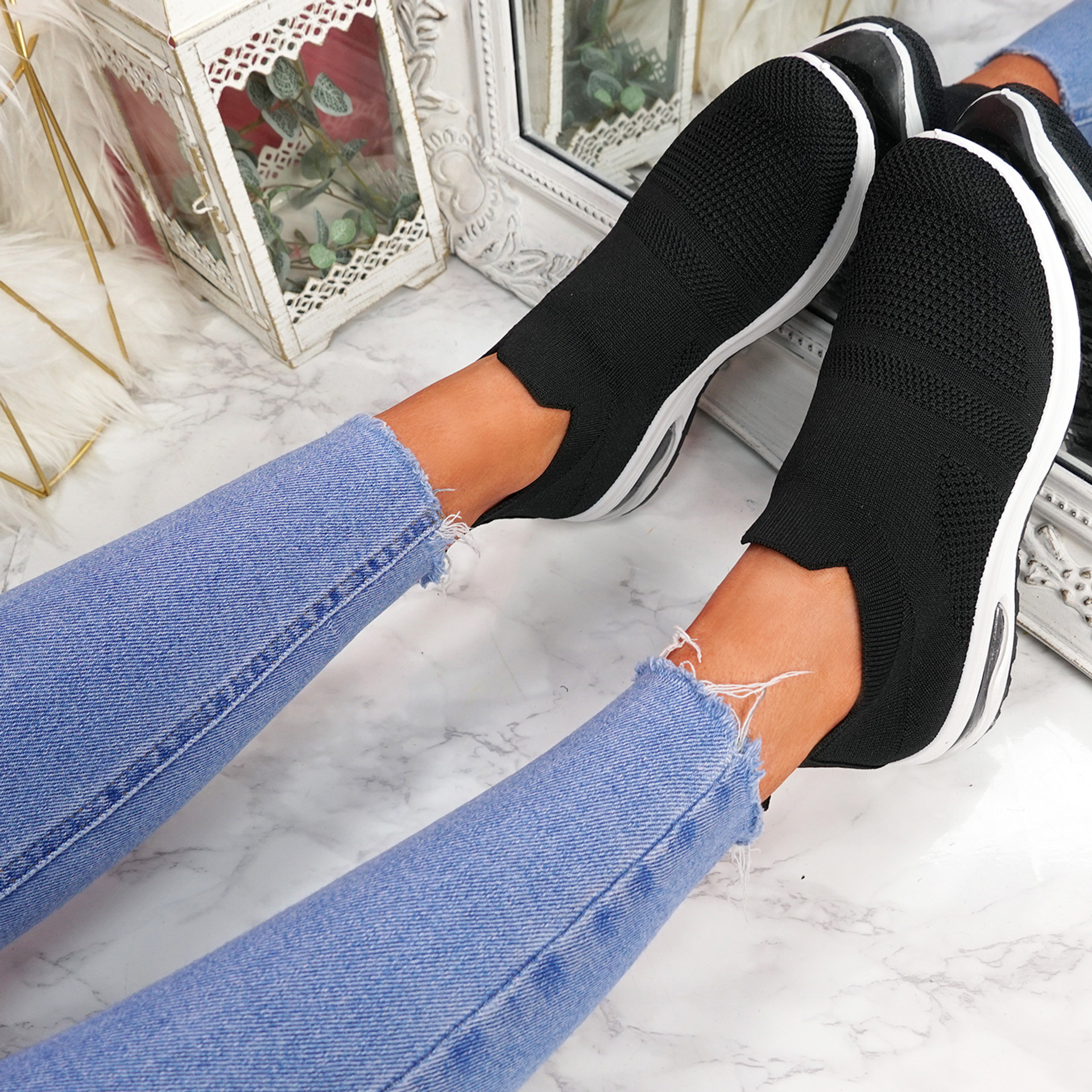 Neya Black Slip On Trainers