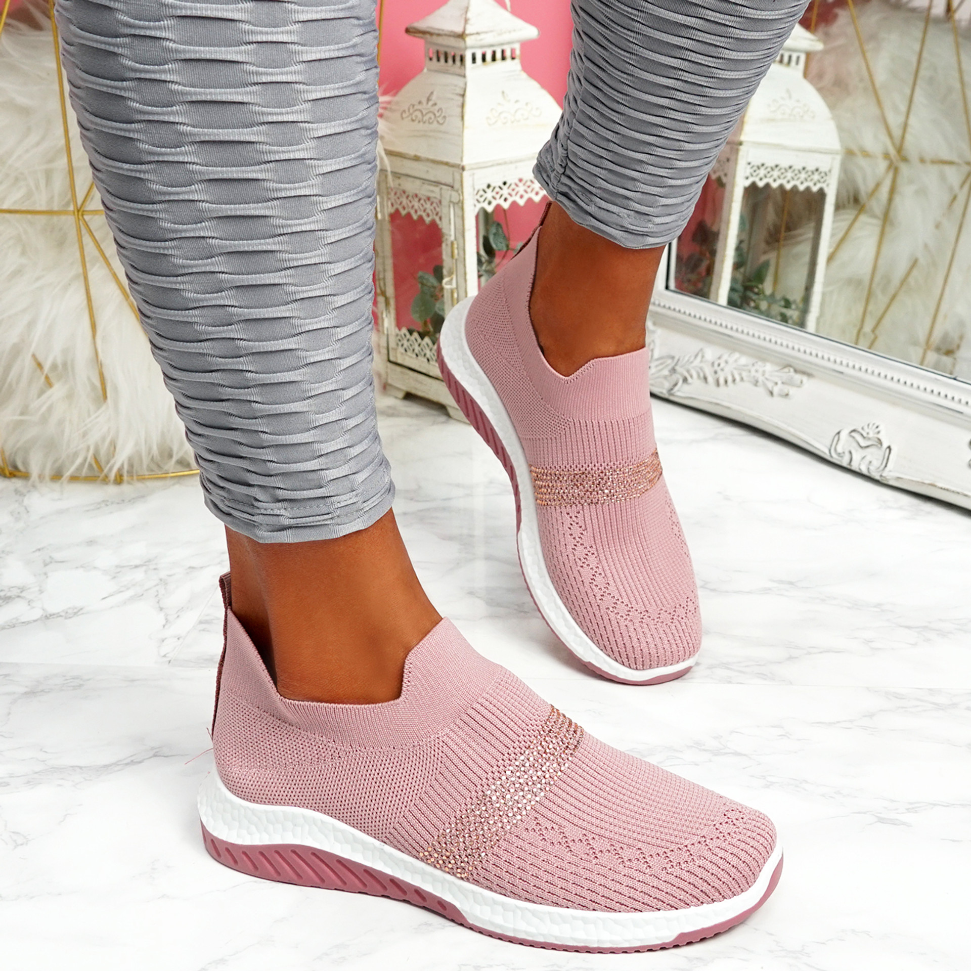 Goppa Pink Studded Sneakers