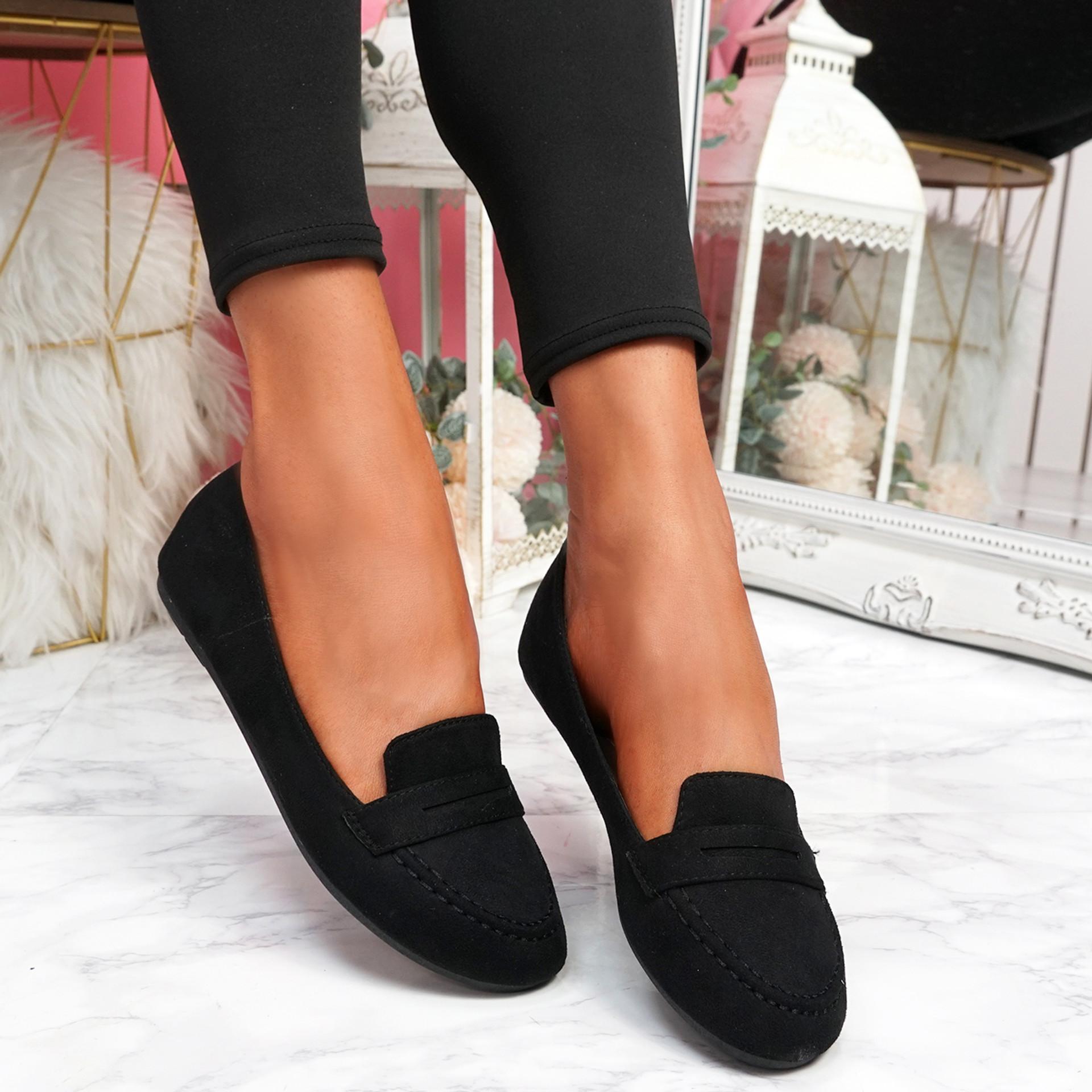 Oze Black Flat Ballerinas