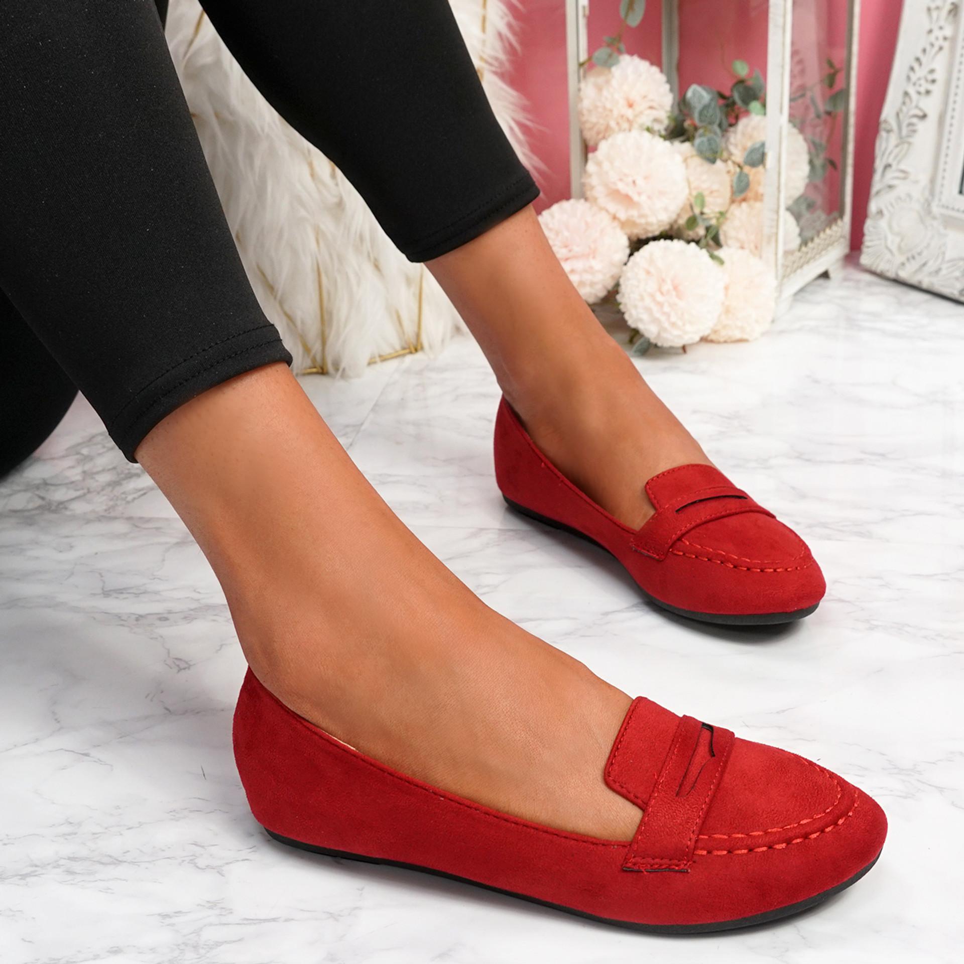 Oze Red Flat Ballerinas