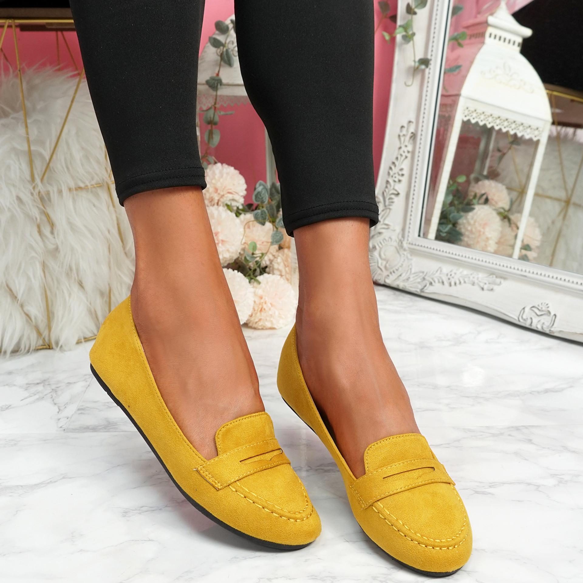 Oze Yellow Flat Ballerinas