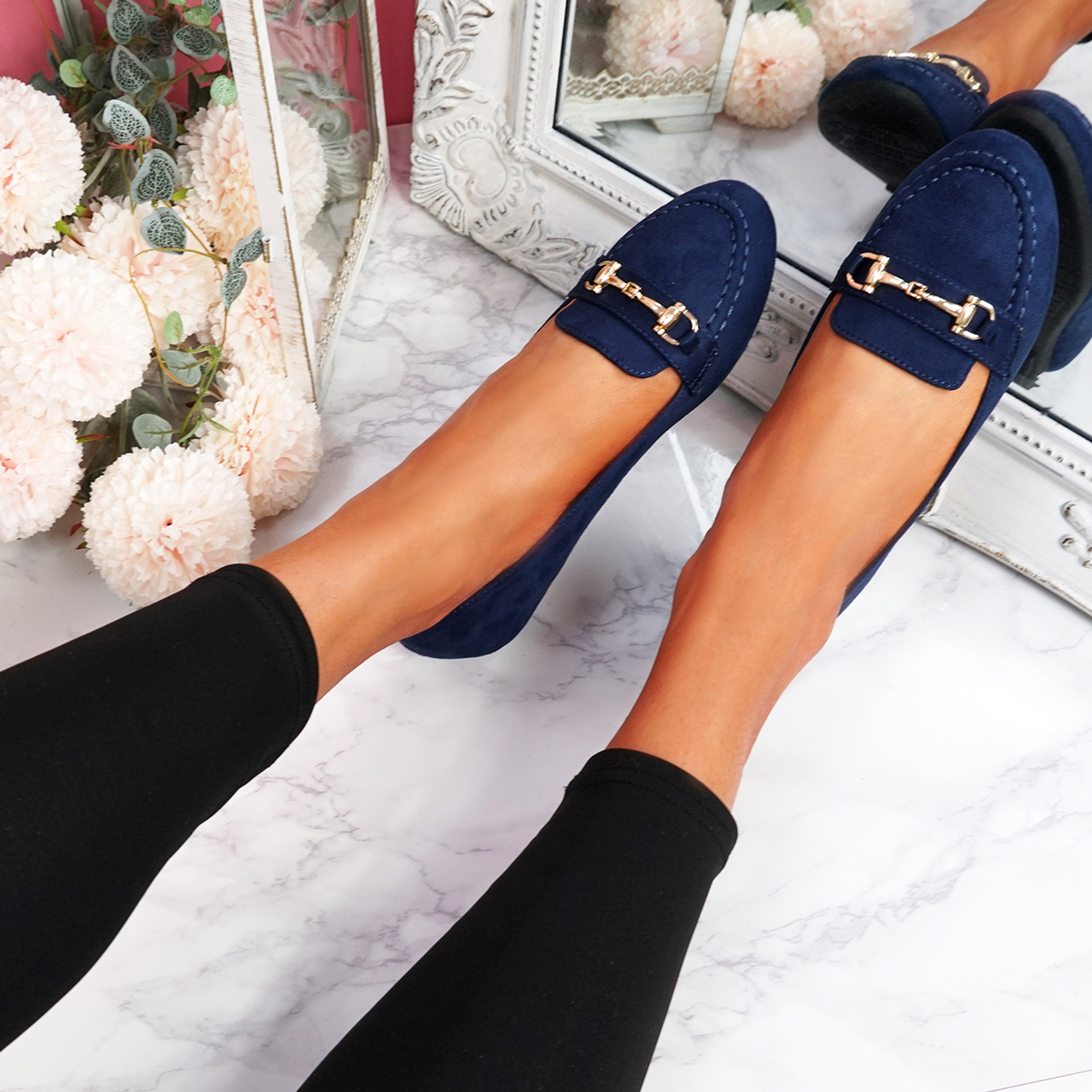 Mero Dark Blue Flat Ballerinas