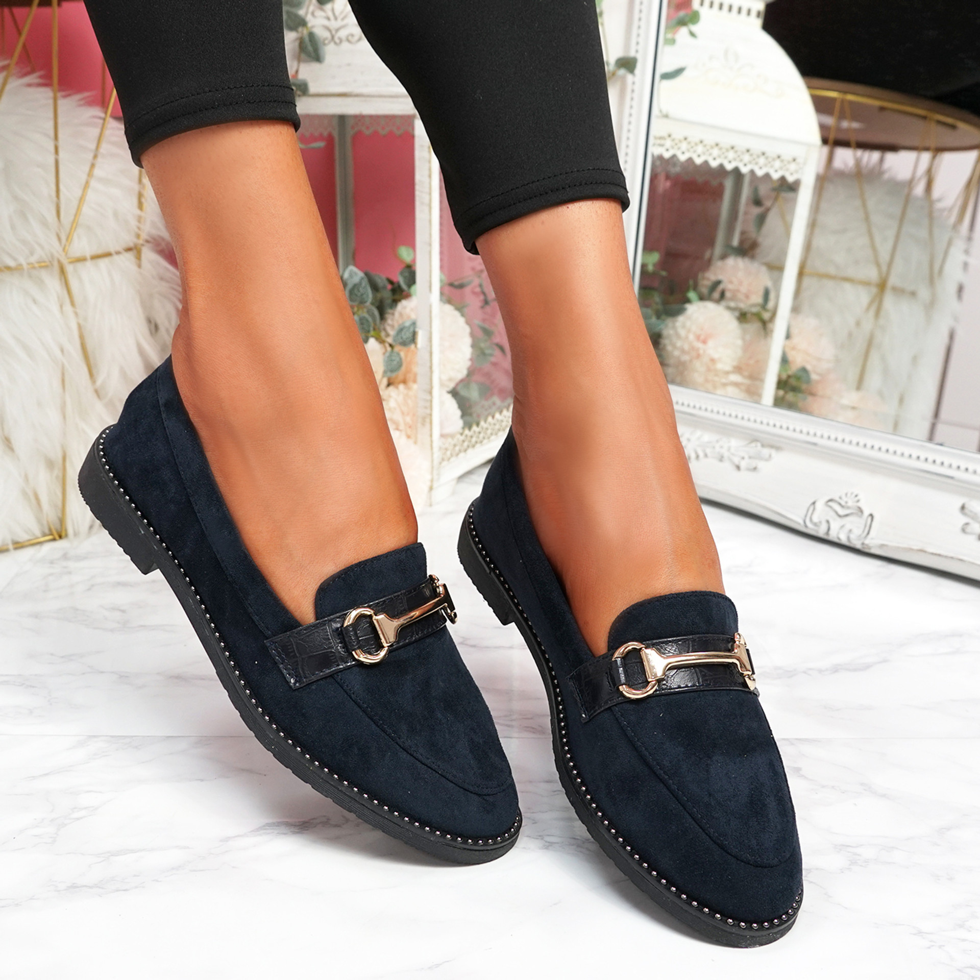 Sise Dark Blue Studded Ballerinas