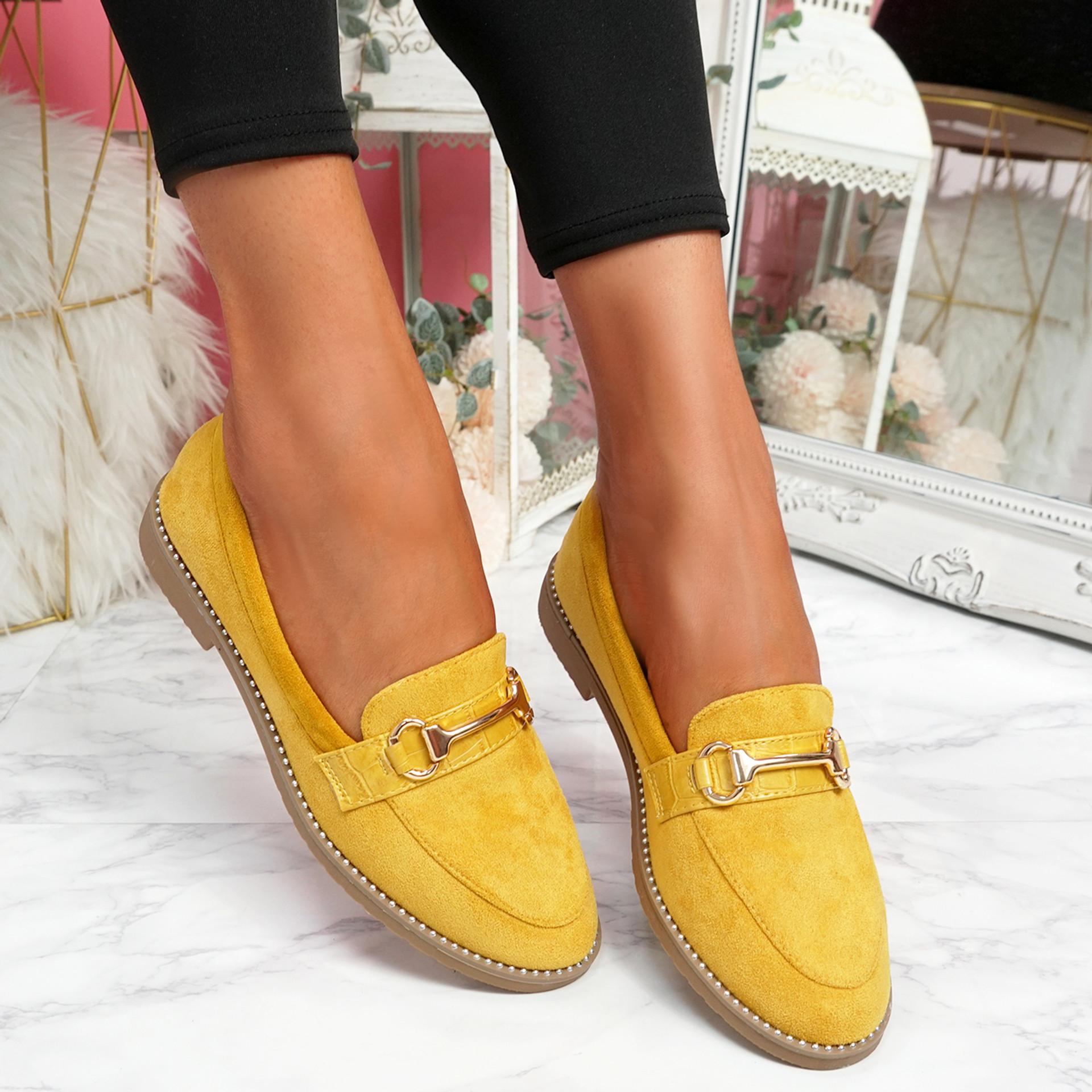 Sise Yellow Studded Ballerinas