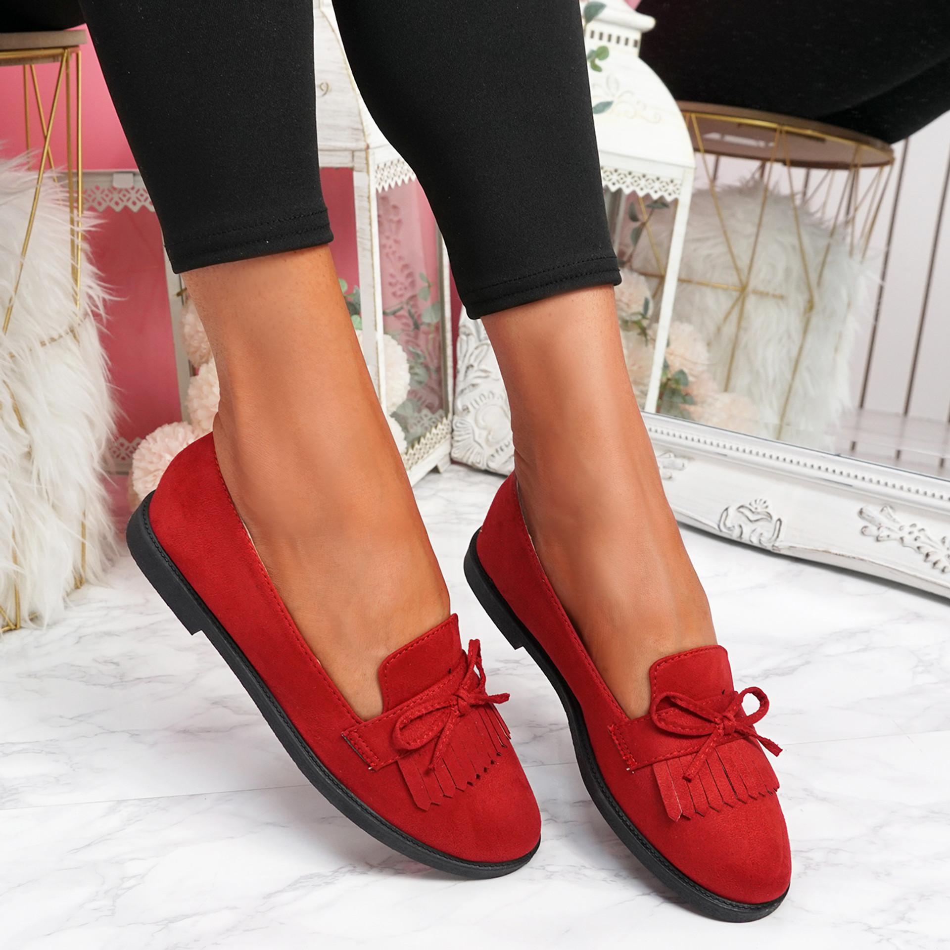 Kolly Red Bow Fringe Ballerinas