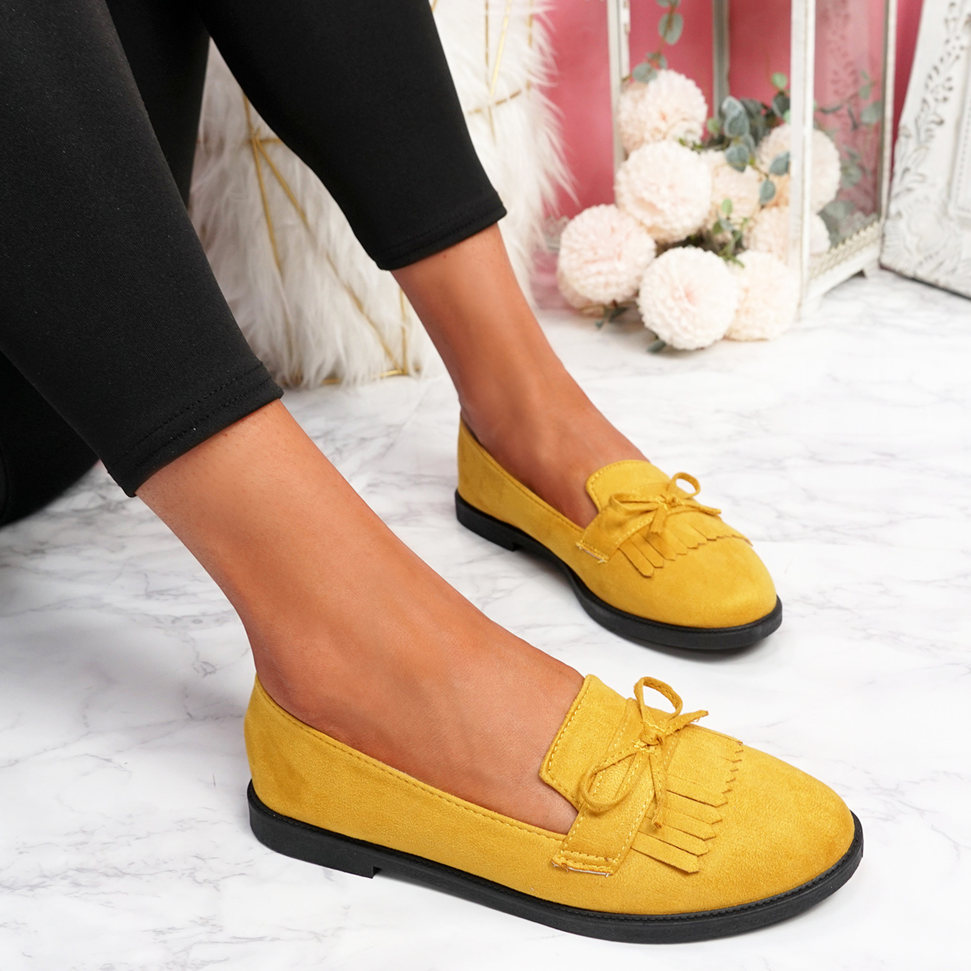 Kolly Yellow Bow Fringe Ballerinas