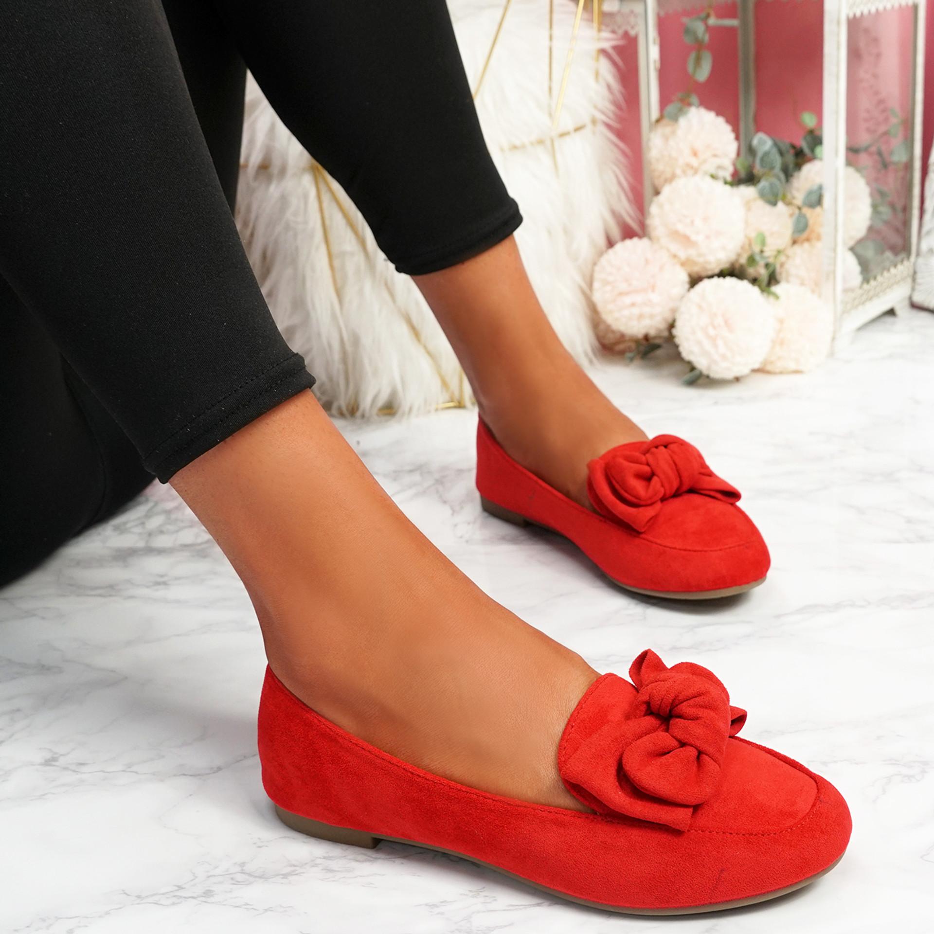 Vinny Red Bow Flat Ballerinas