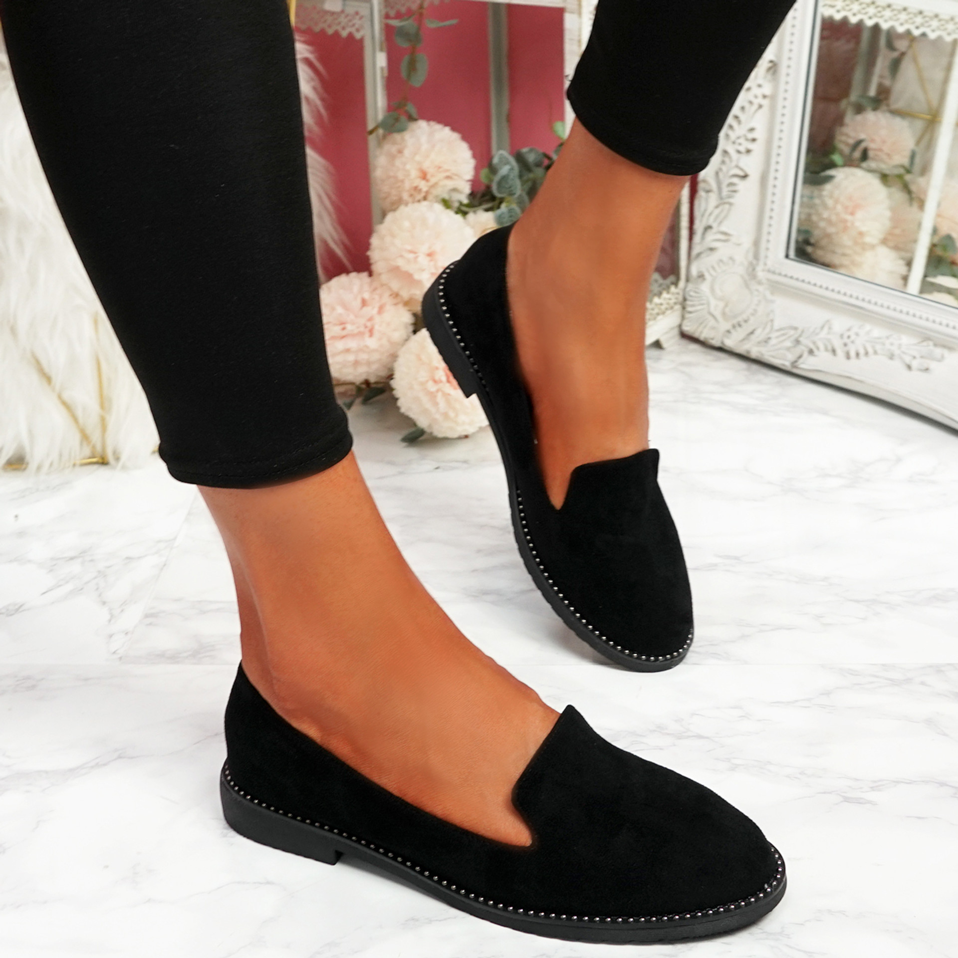 Grety Black Studded Ballerinas