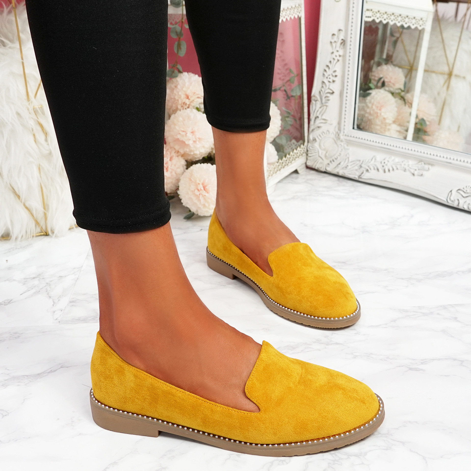 Grety Yellow Studded Ballerinas