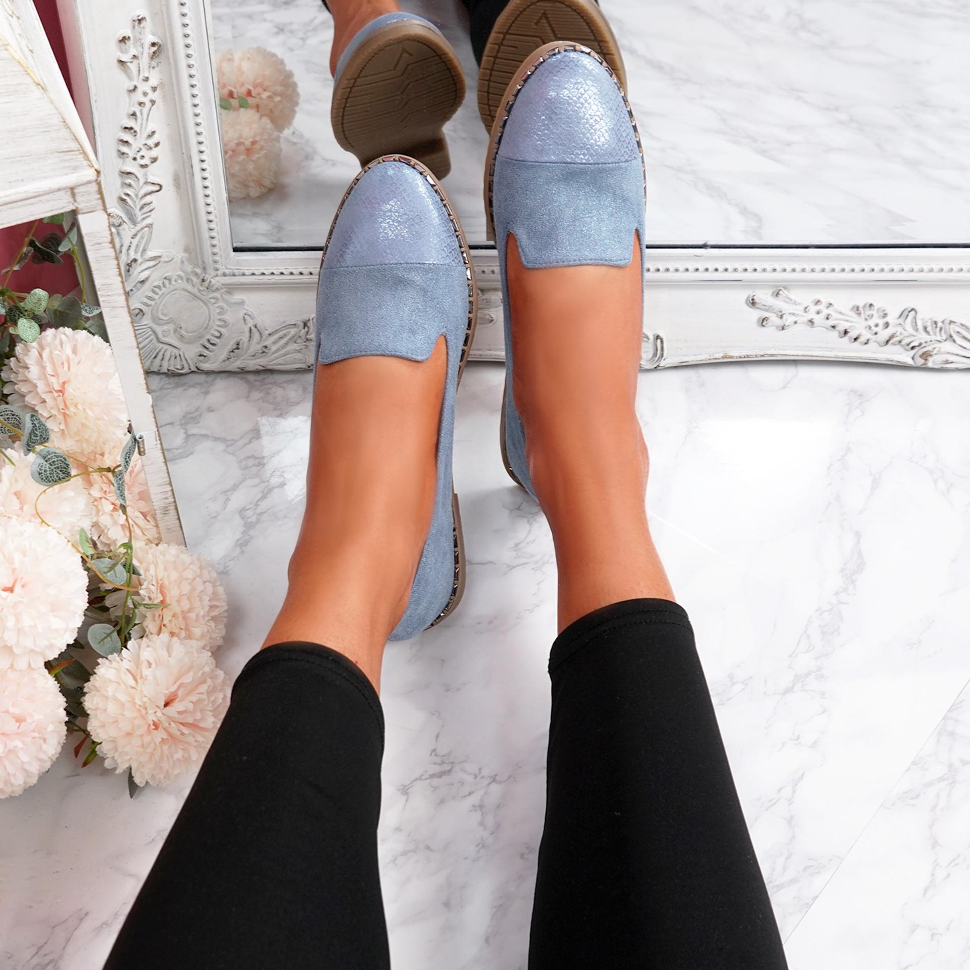 Kyja Blue Snake Skin Toe Ballerinas