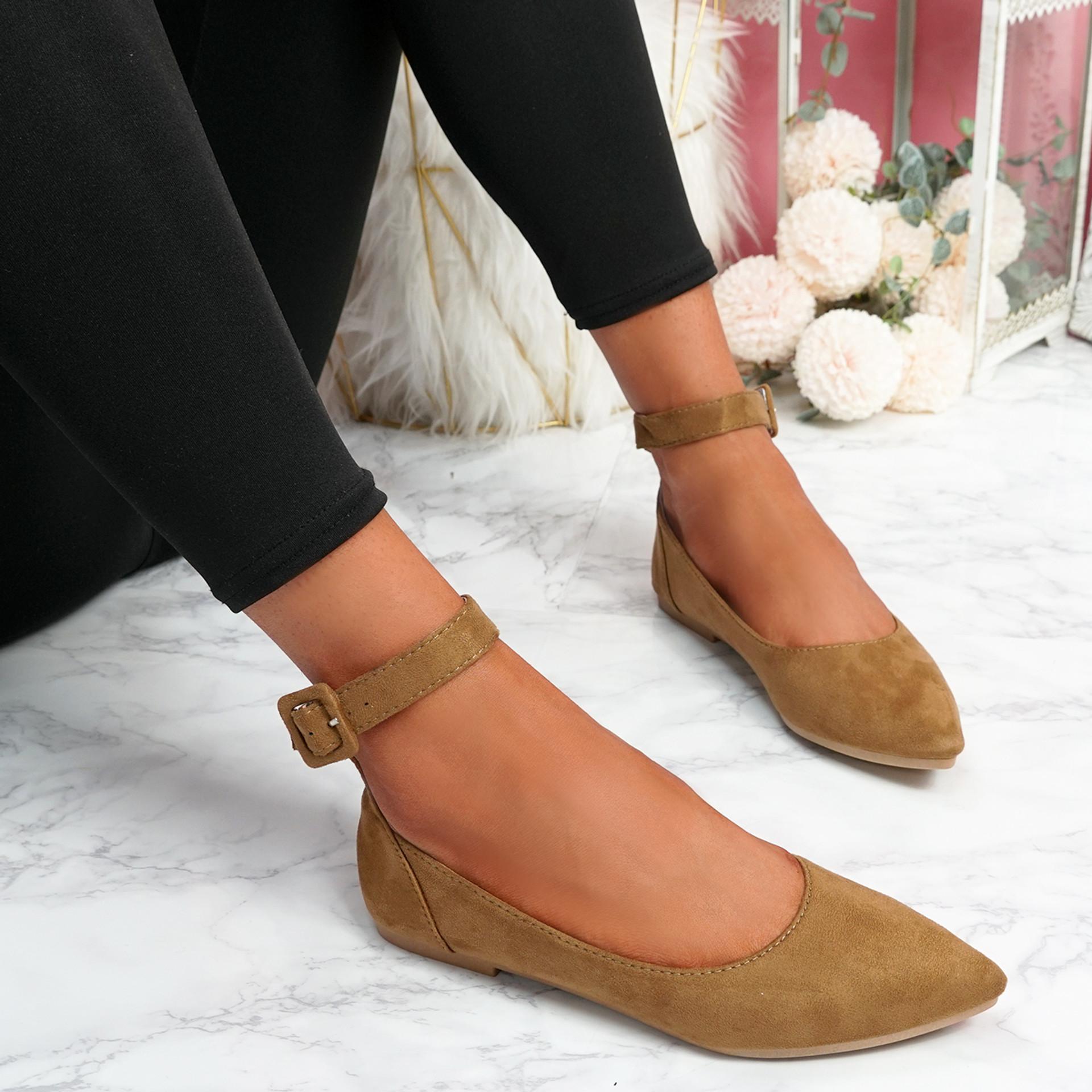Offy Camel Ankle Strap Ballerinas