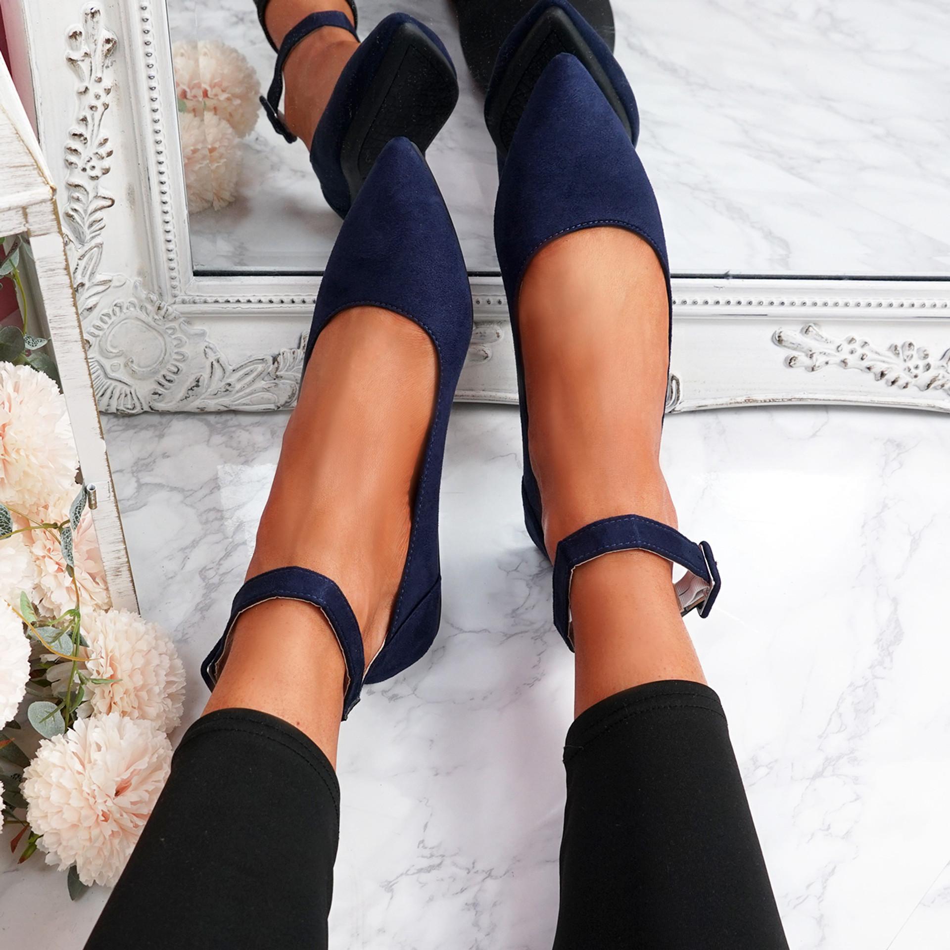 Offy Dark Blue Ankle Strap Ballerinas