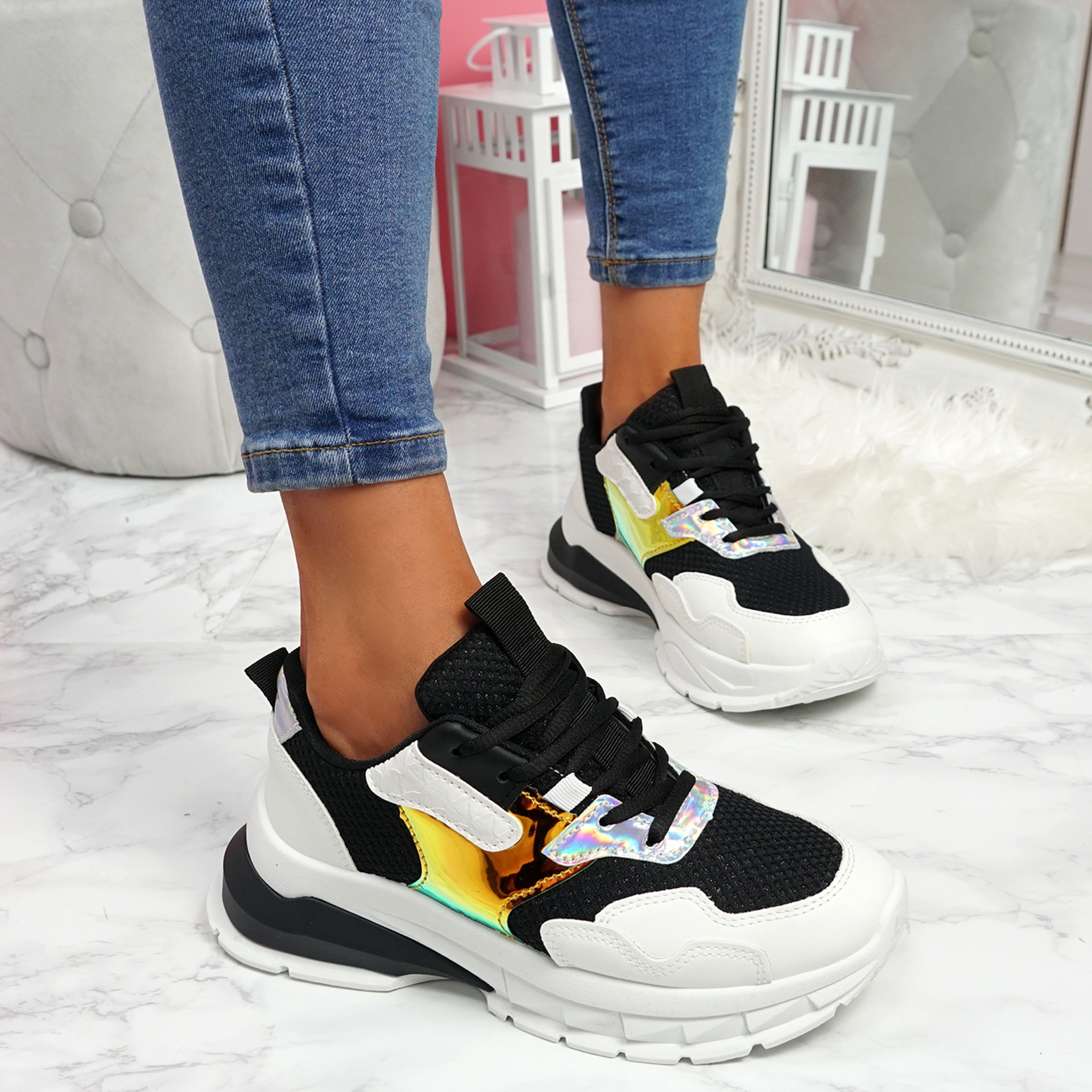 Geppo Black Chunky Trainers