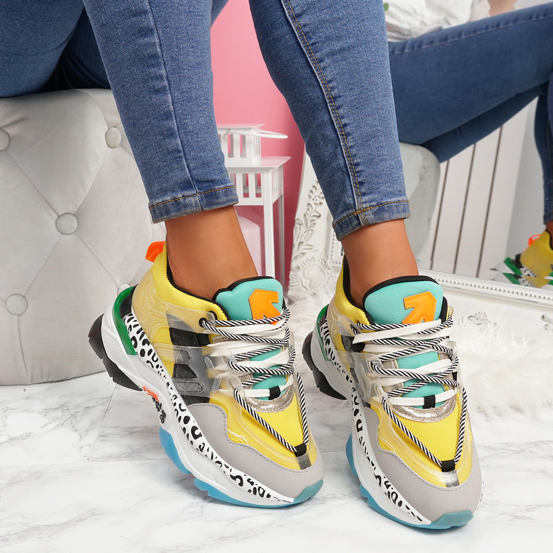 Logy Yellow Chunky Sneakers