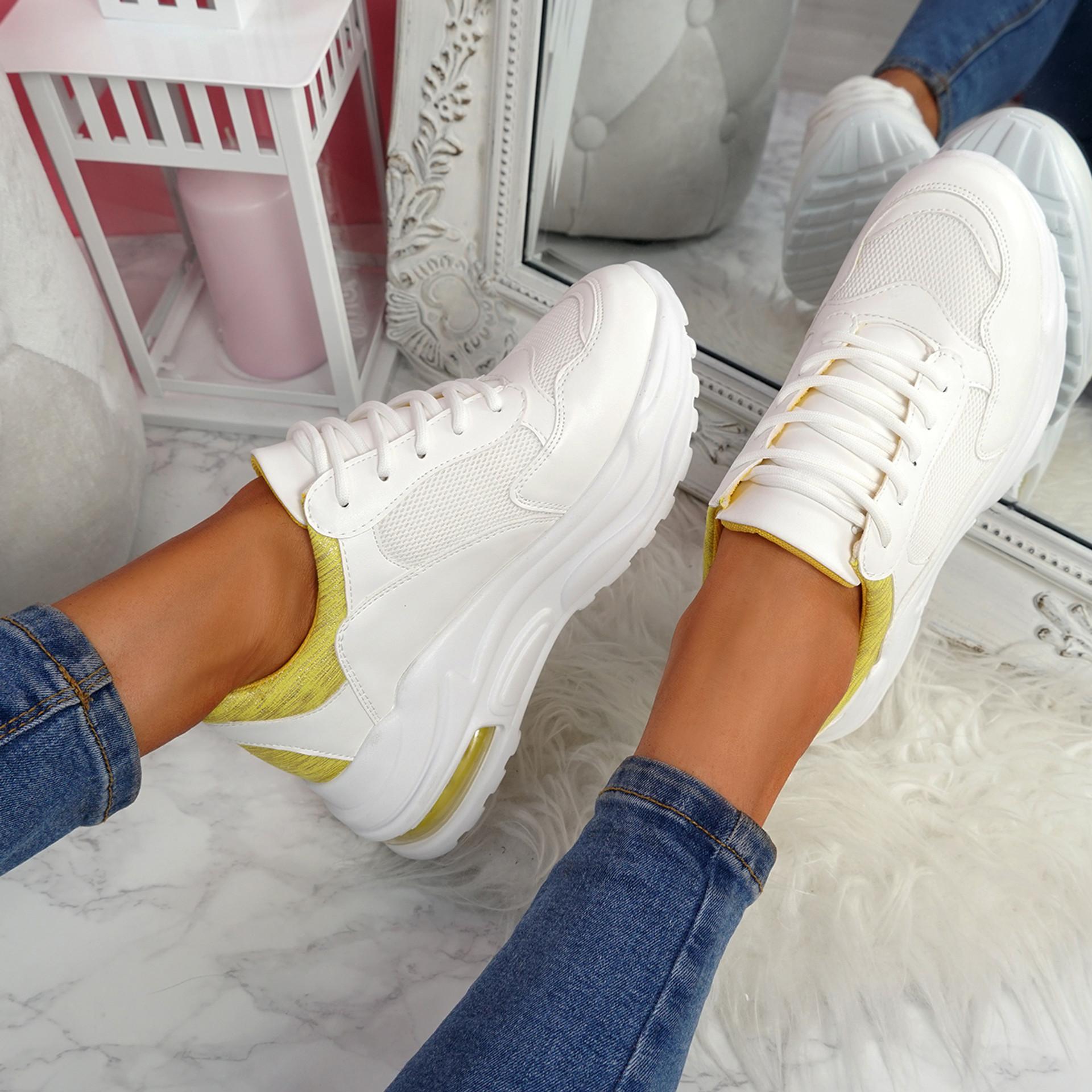Viffa White Yellow Lace Up Chunky Trainers