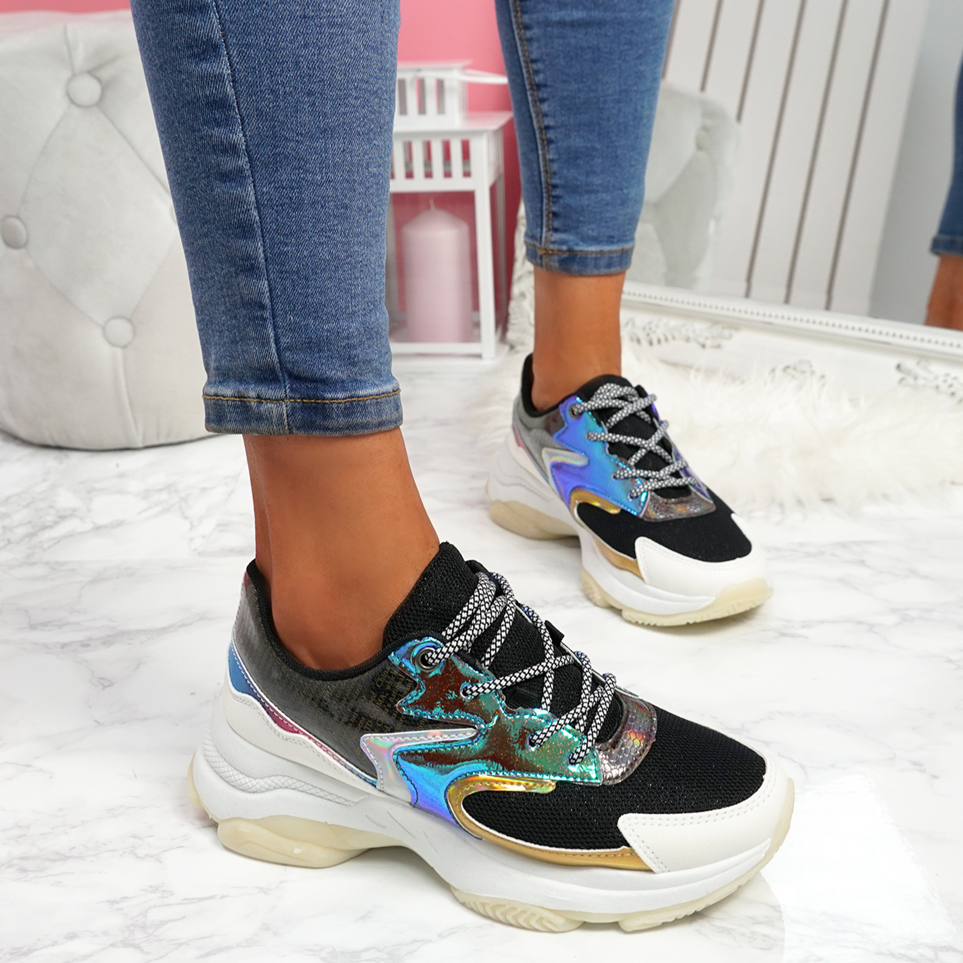 Ogllo Black White Chunky Sole Sneakers