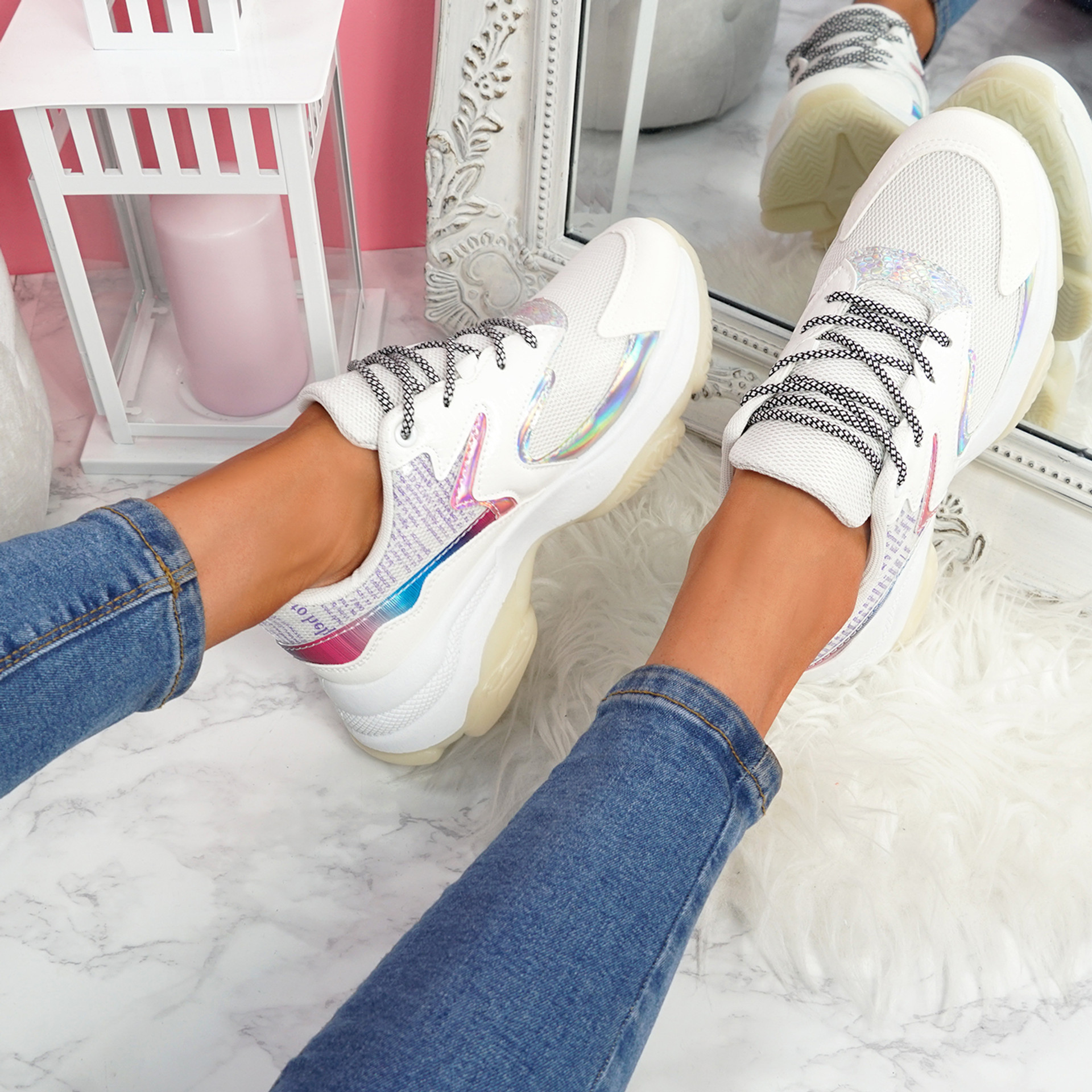Ogllo White Chunky Sole Sneakers