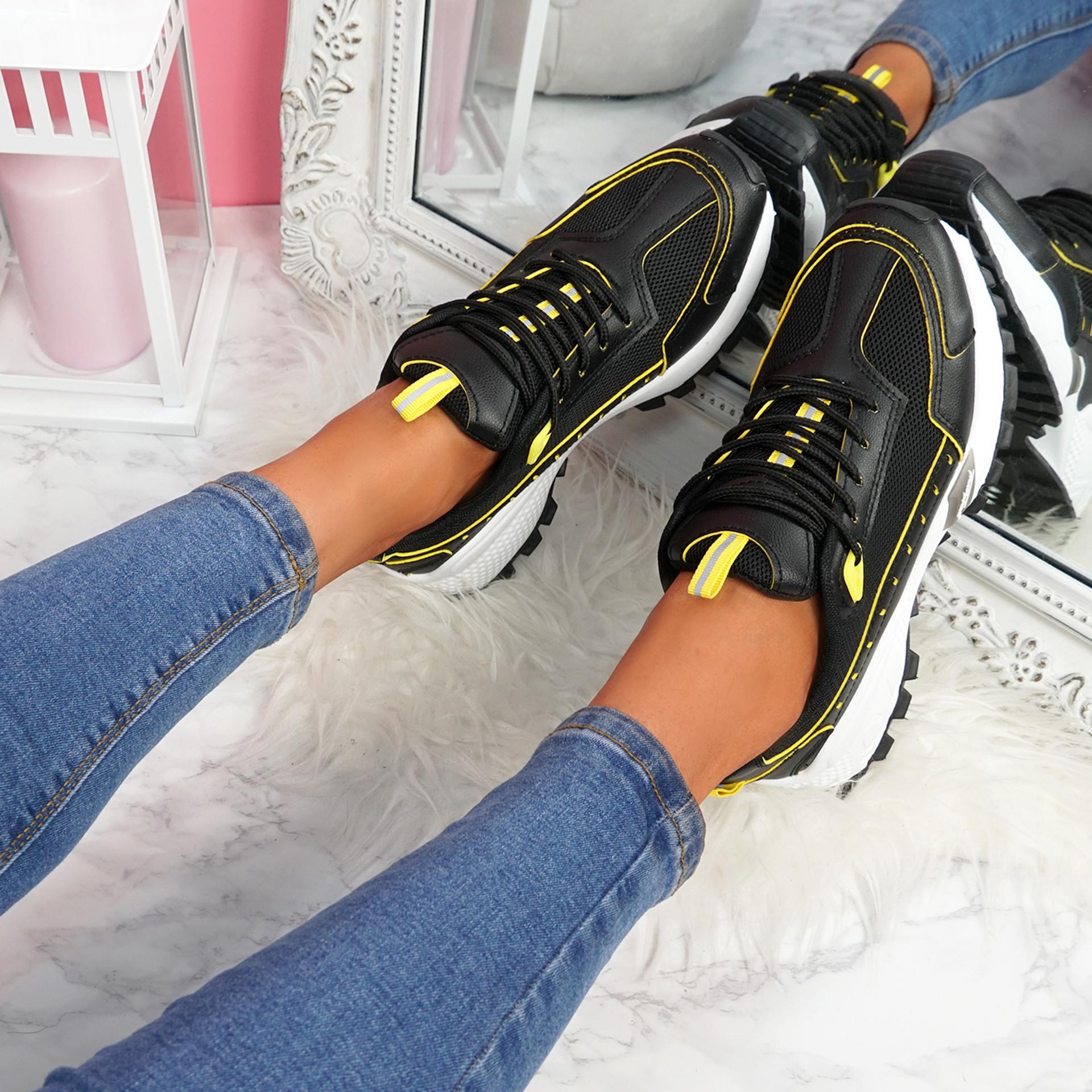 Zennya Black Yellow Chunky Sneakers