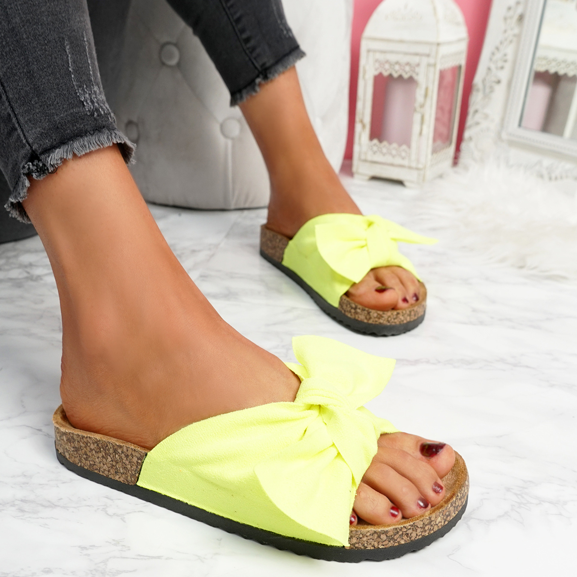 Lela Fluorescent Green Bow Flat Sandals