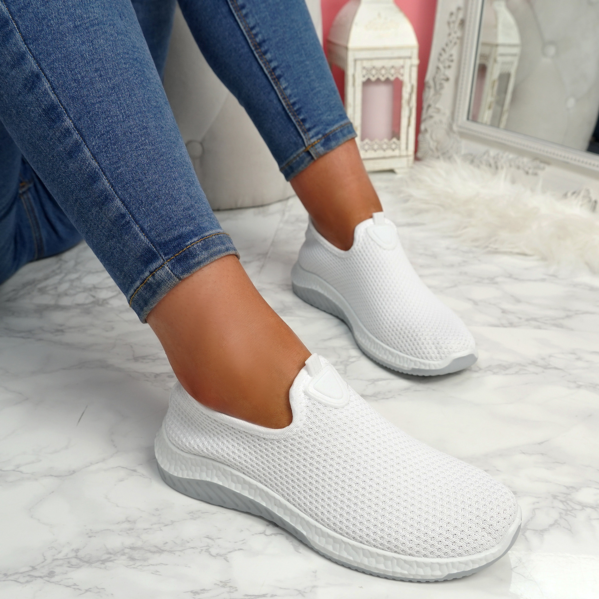 Nugga White Slip On Trainers