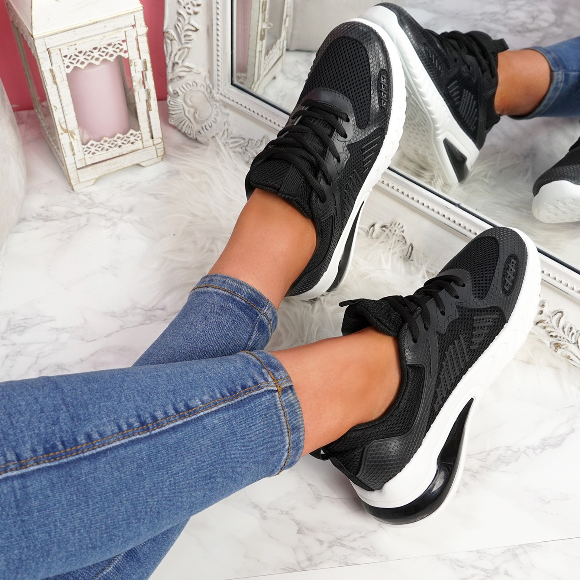 Bymma Black Lace Up Trainers
