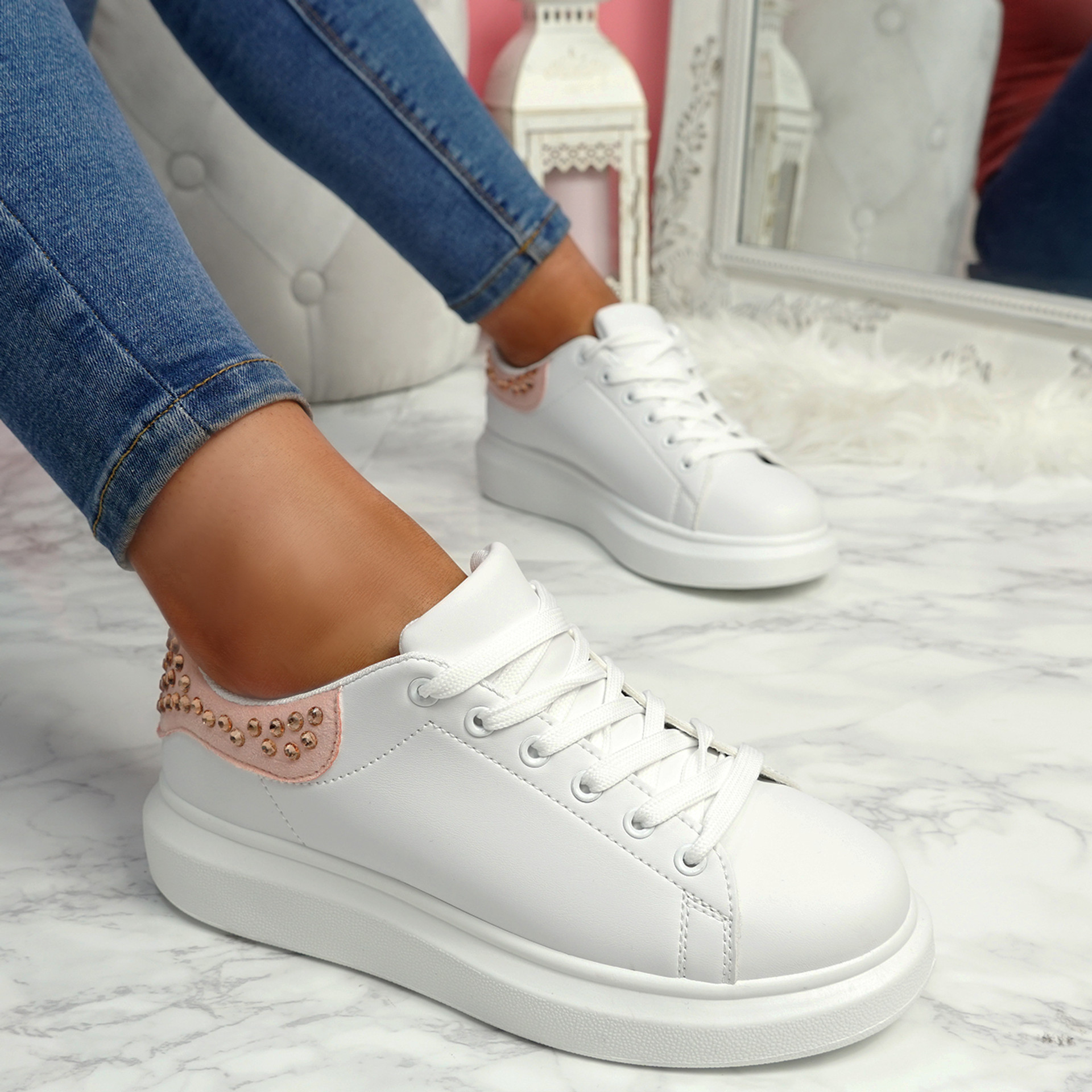Mika Champagne Studded Trainers