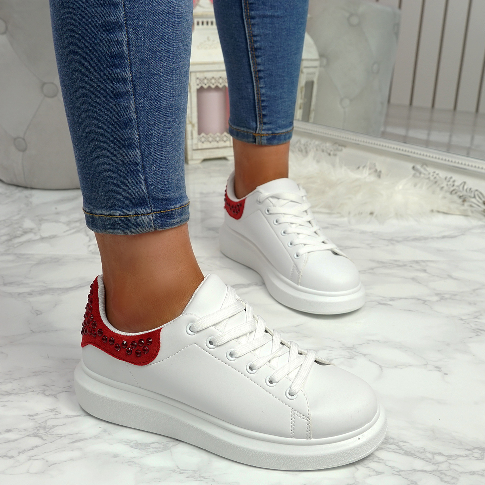 Mika Red Studded Trainers