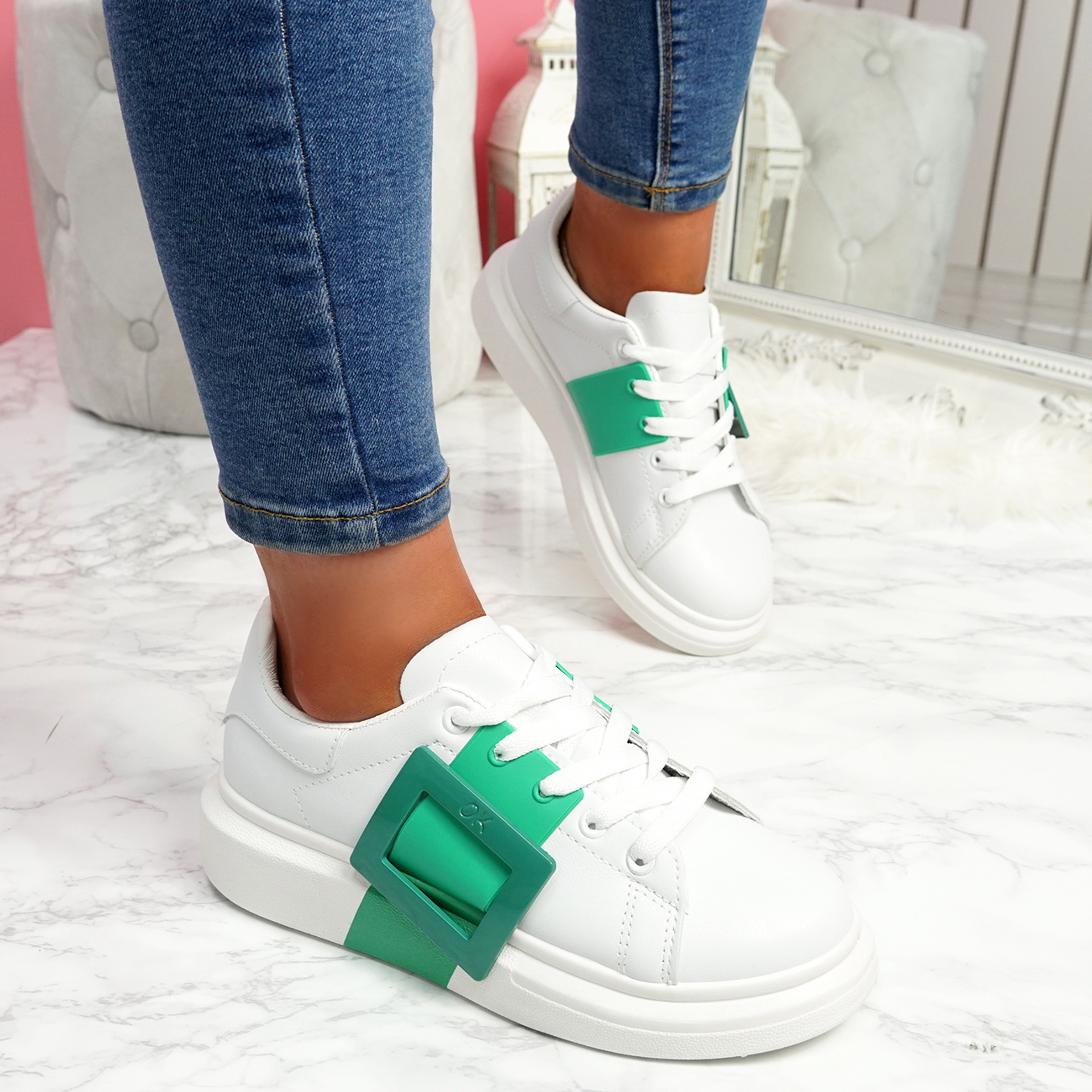 Kiva Green Buckle Trainers