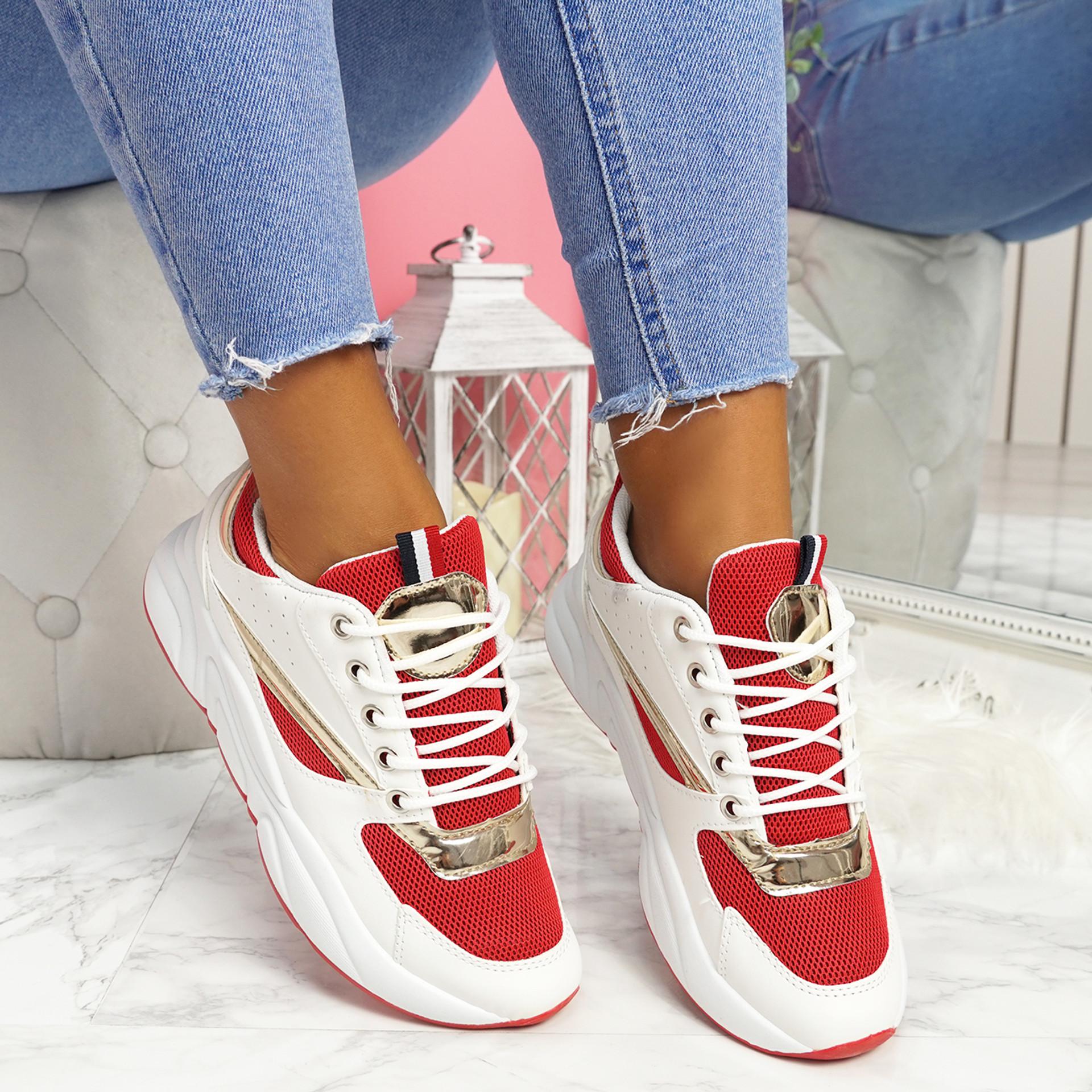 Kitta Red Chunky Sneakers
