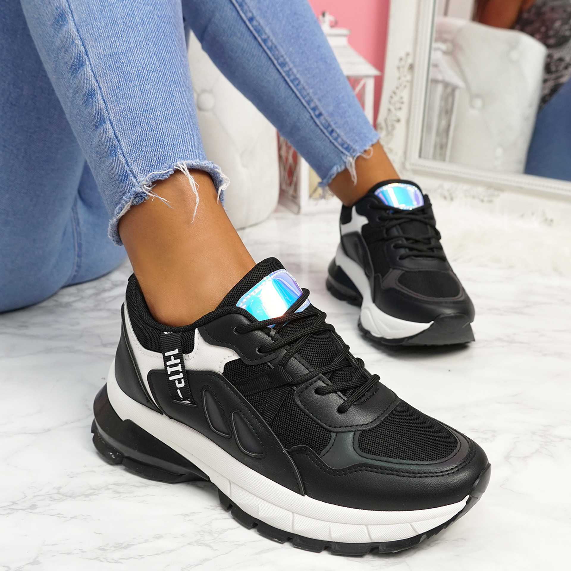 Nuppy Black Chunky Sneakers