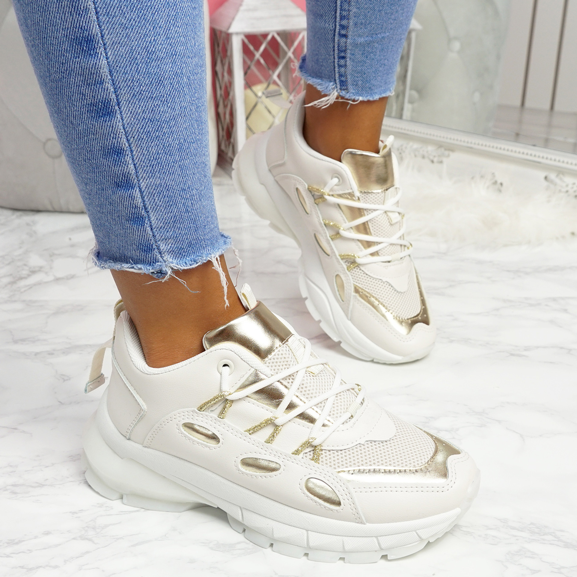 Potty Beige Gold Party Sneakers