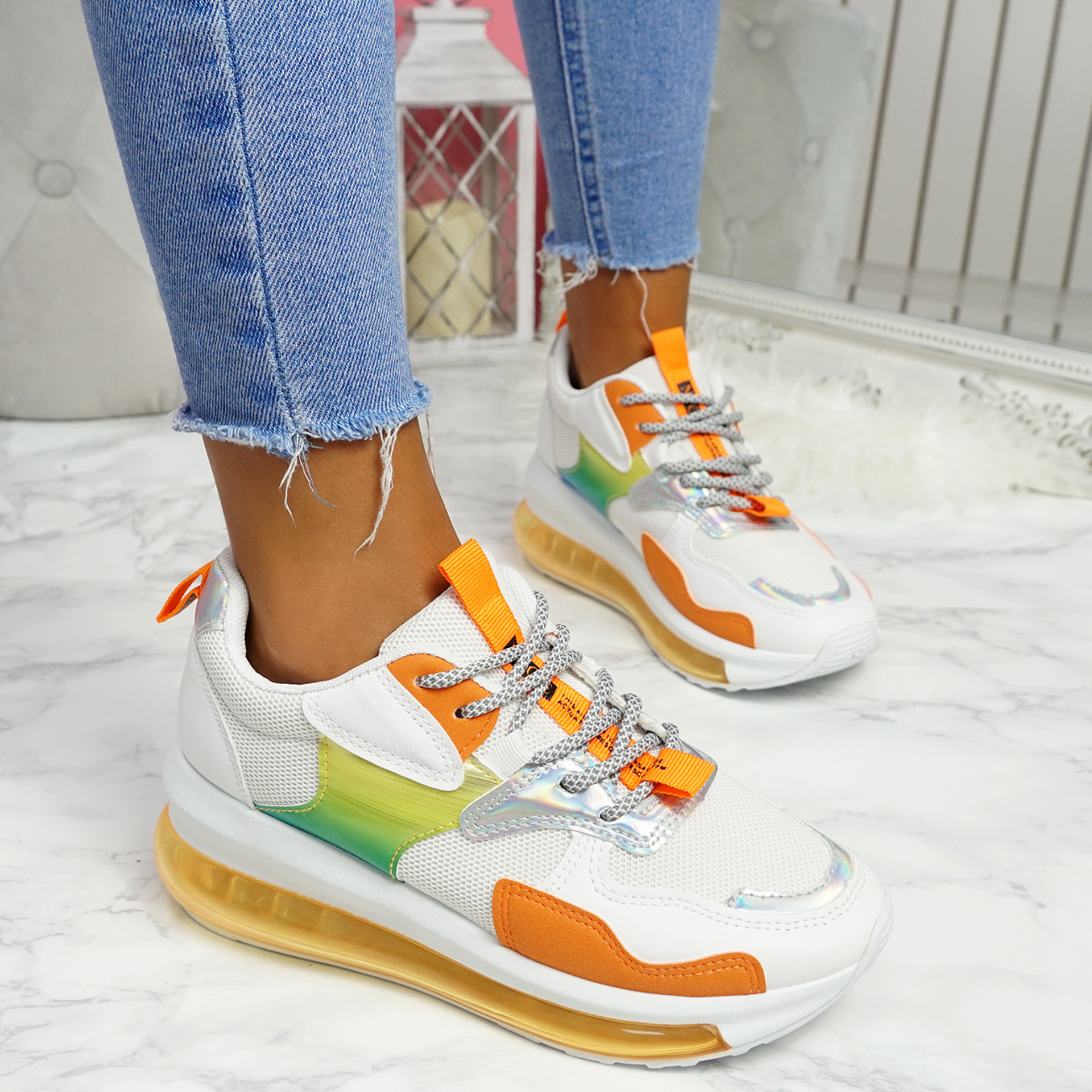 Rety White Orange Clear Sole Trainers