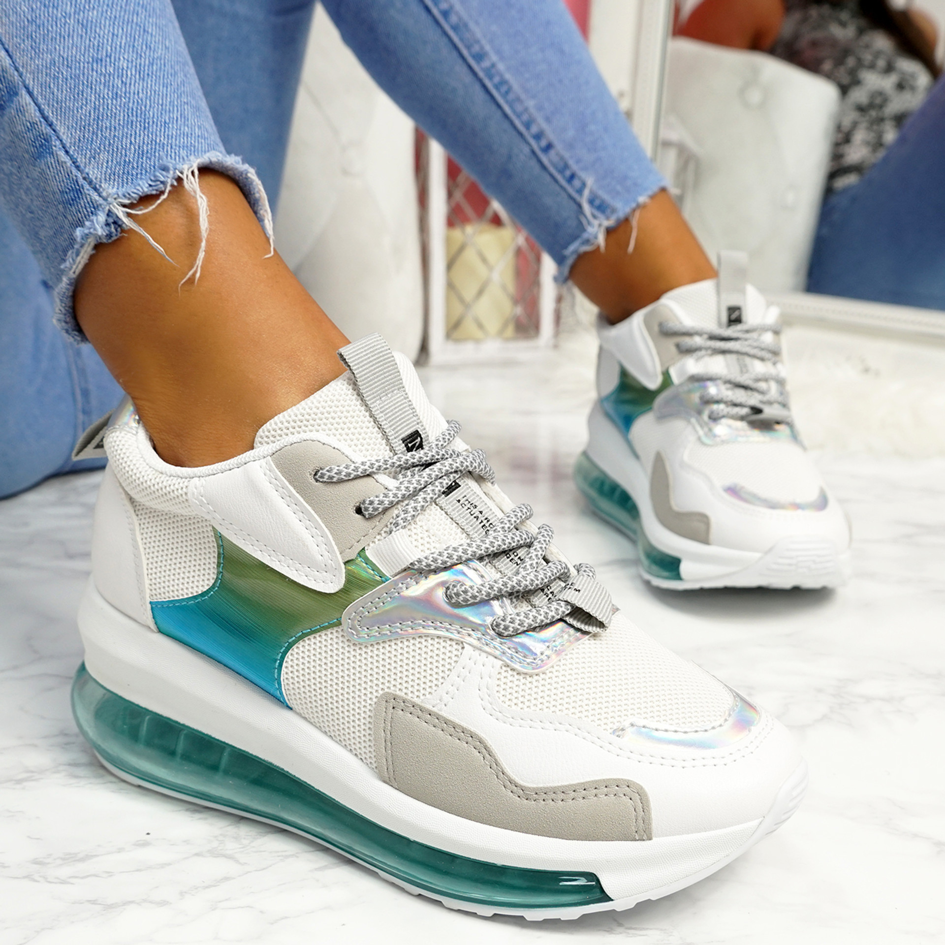 Rety White Grey Clear Sole Trainers