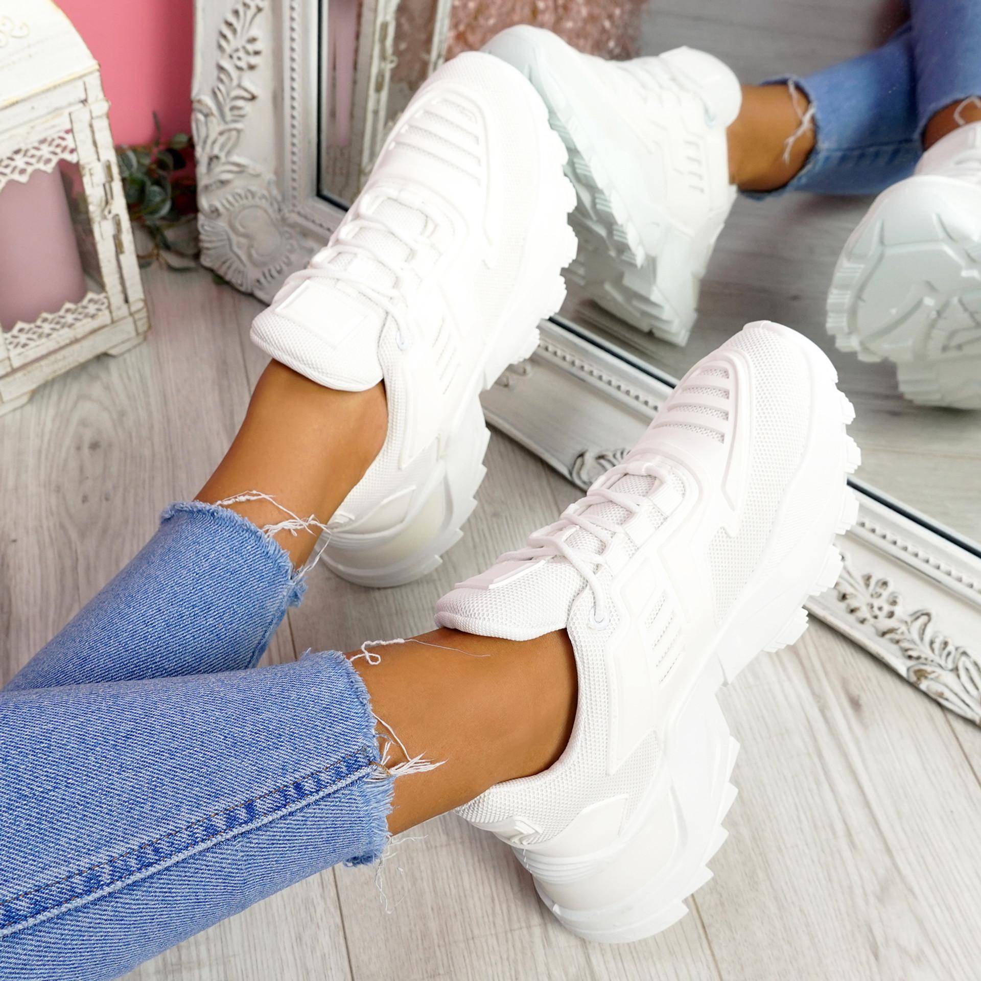 Levve White Mesh Chunky Sneakers