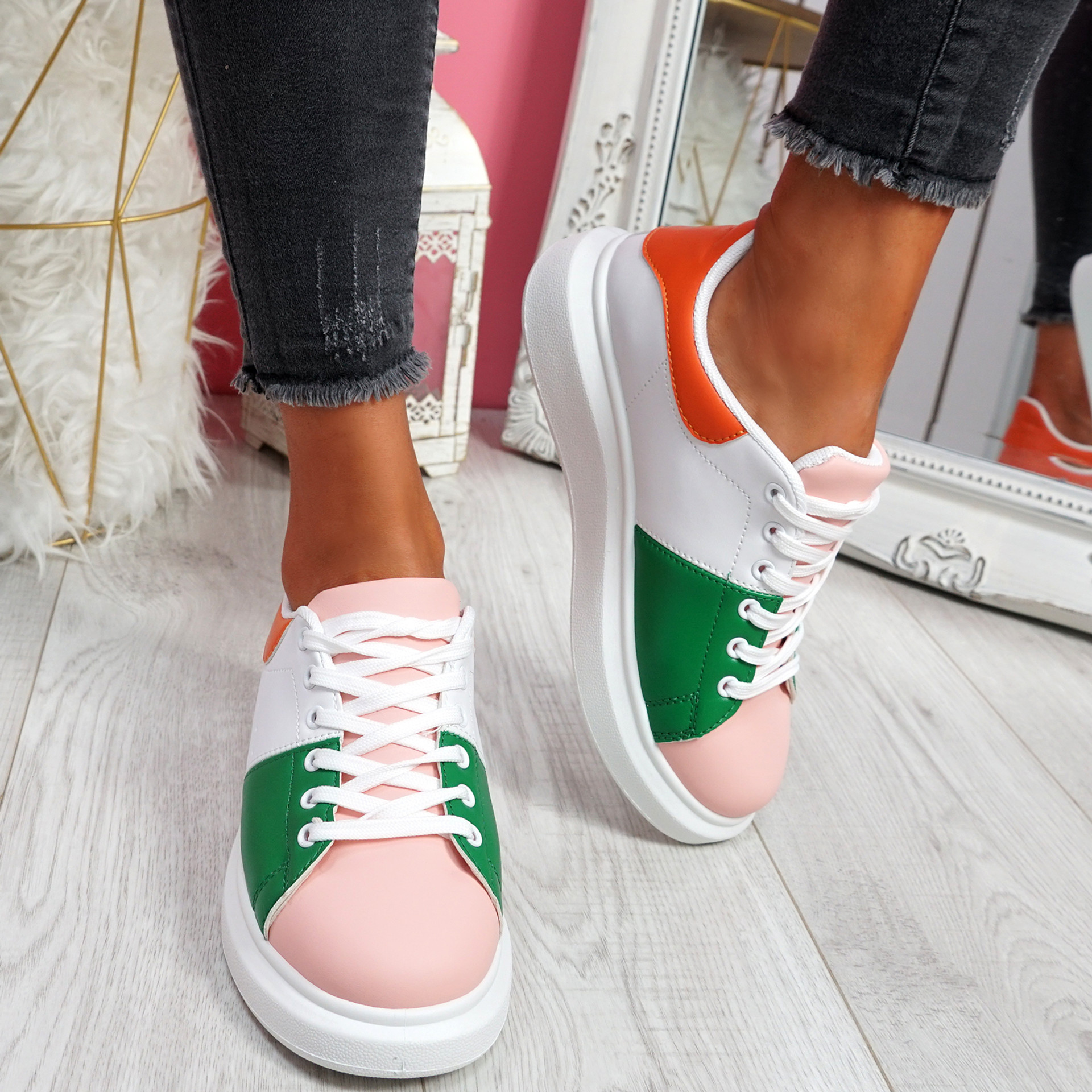 Jumma Pink Lace Up Trainers