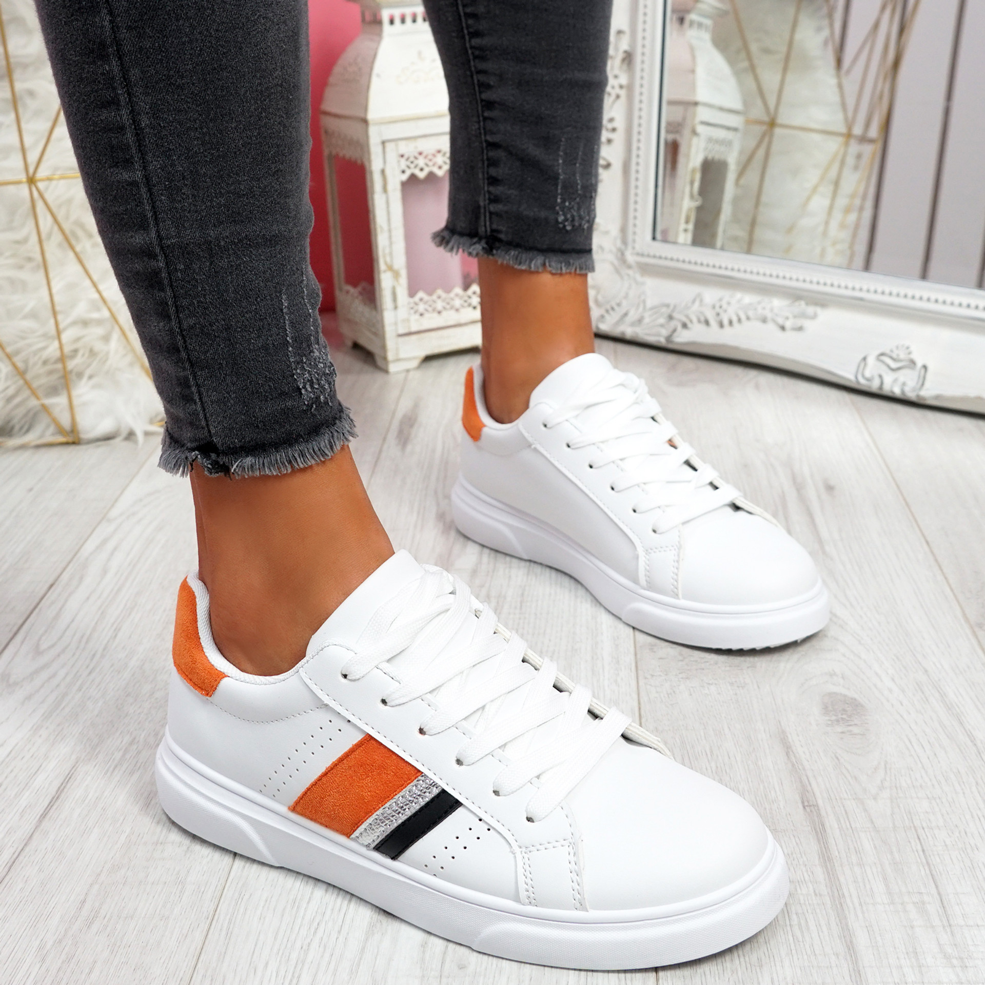 Minno White Red Orange Lace Up Trainers