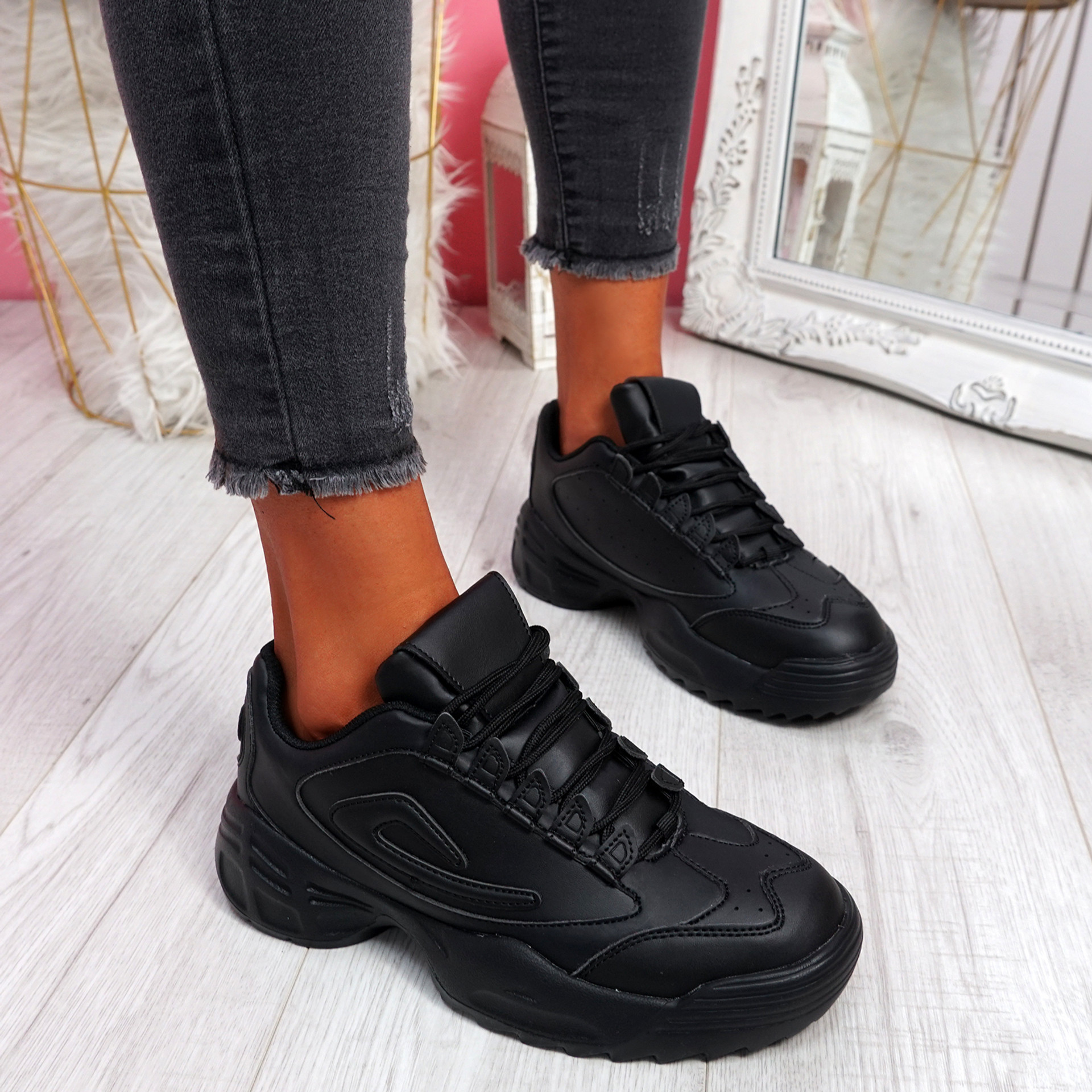 Nizzo Black Lace Up Chunky Trainers