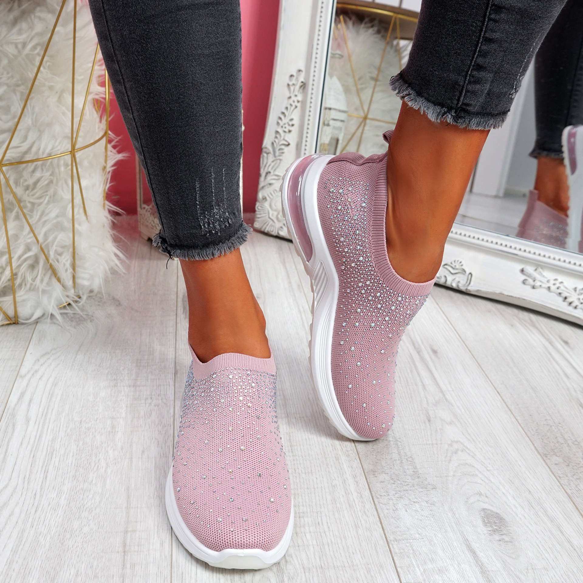 Sizzo Pink Diamante Studded Trainers