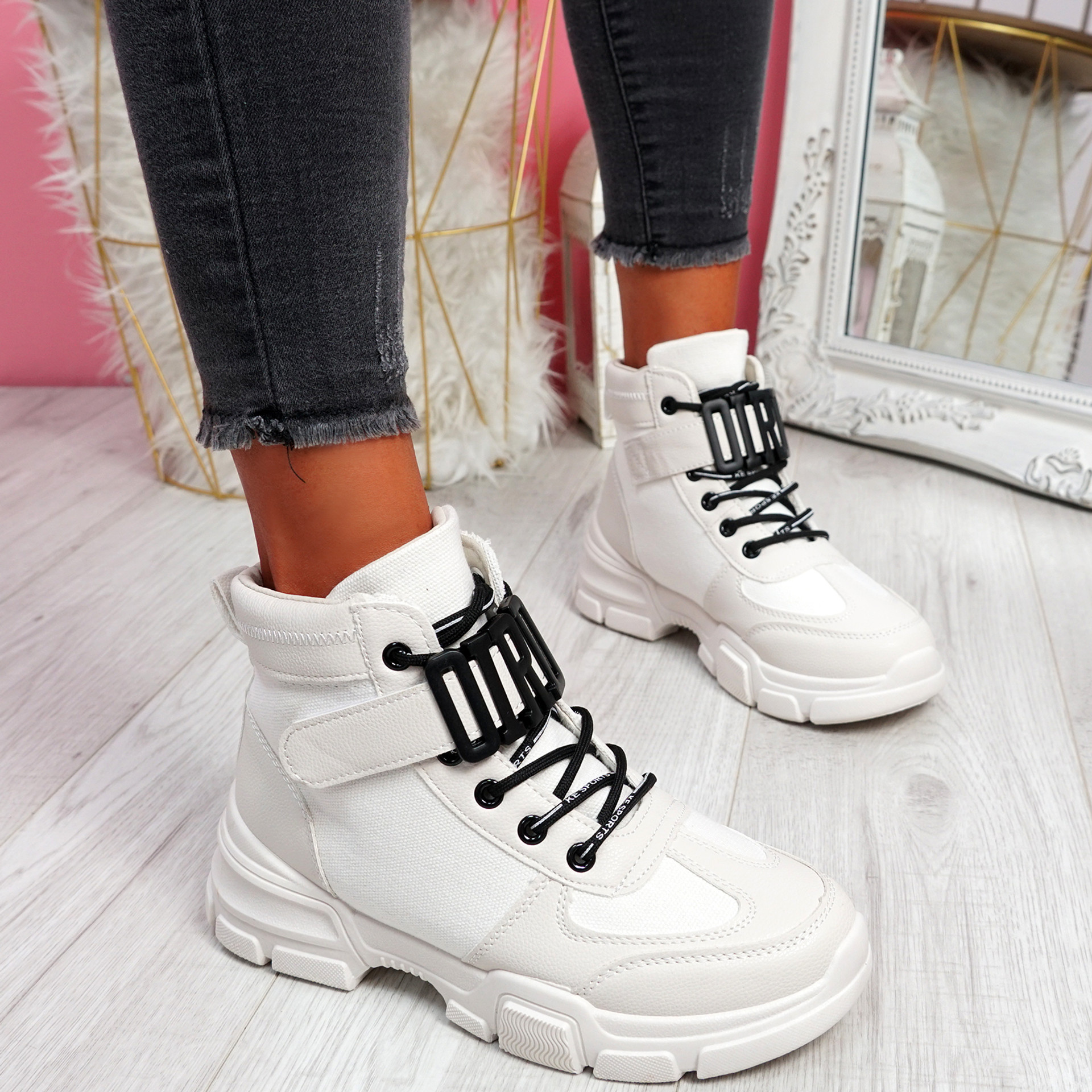 Sally Beige High Top Trainers