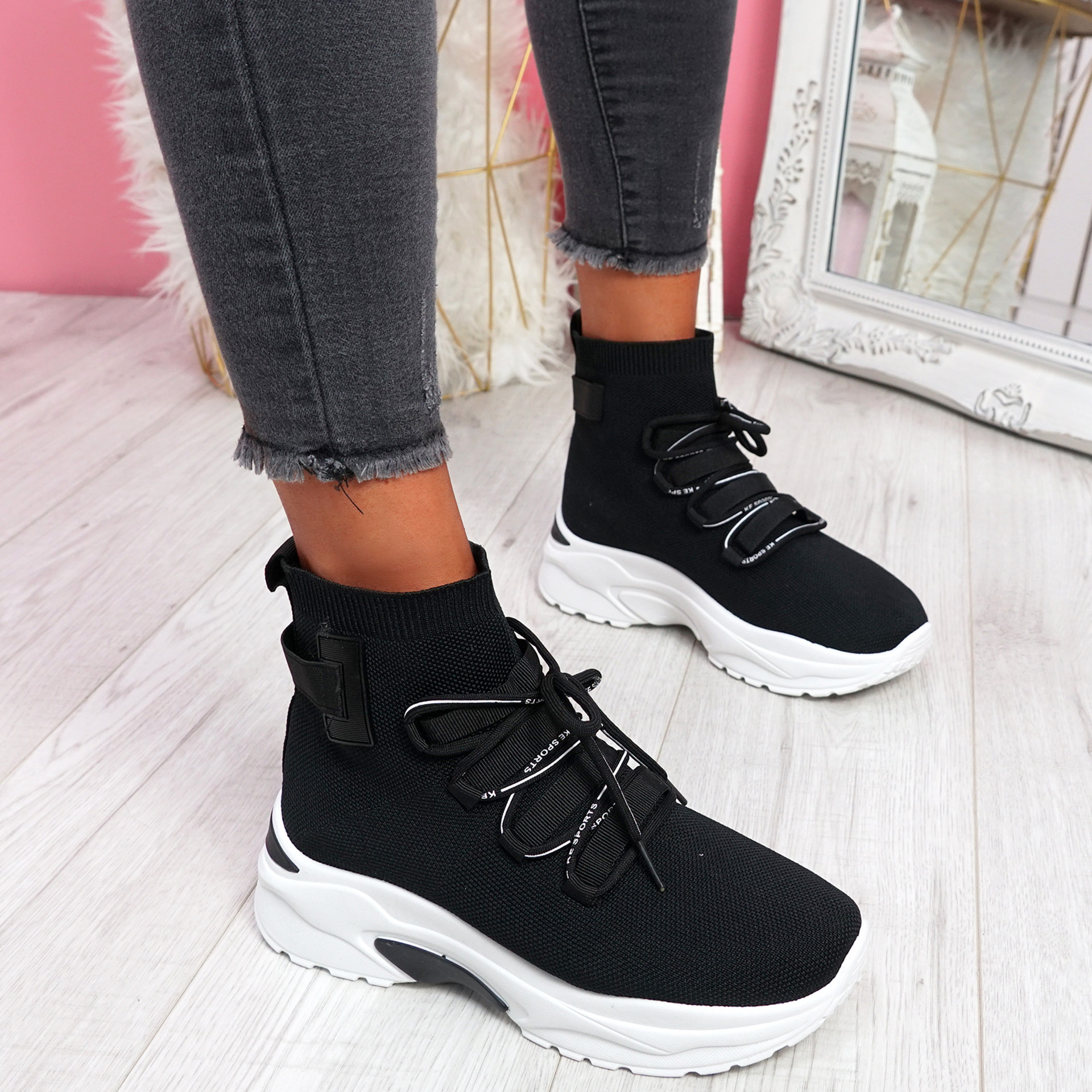 Erika Black Sock Trainers