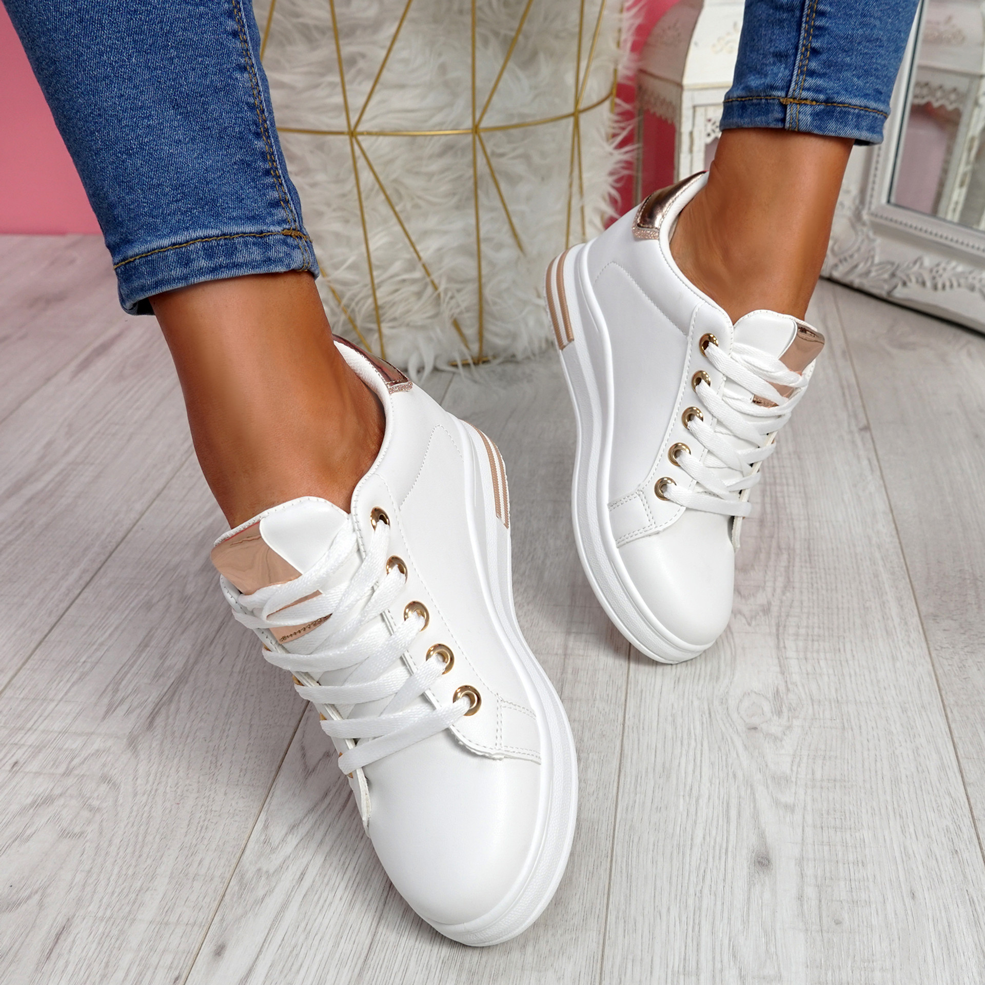 Liva White Champagne Wedge Trainers
