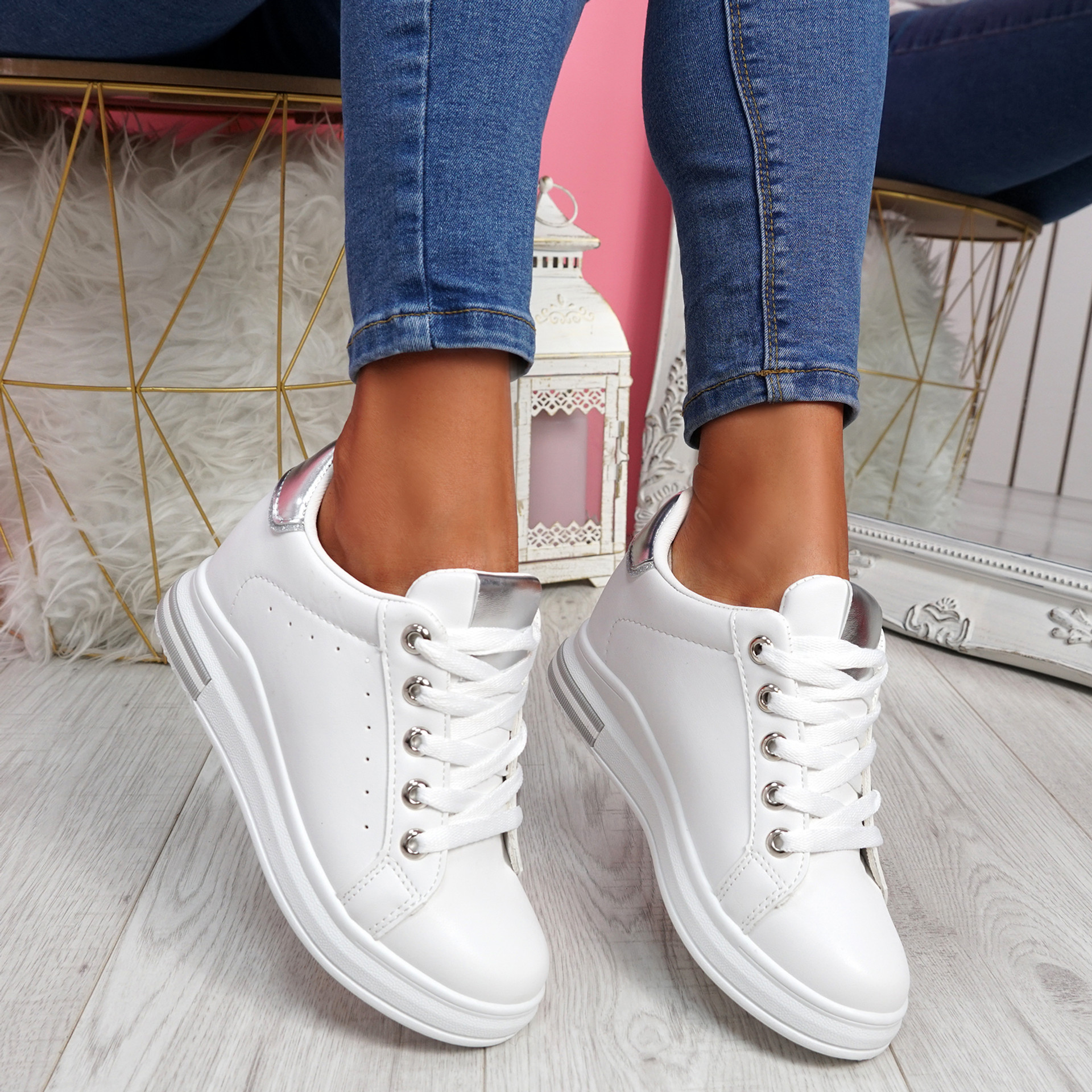 Liva White Silver Wedge Trainers