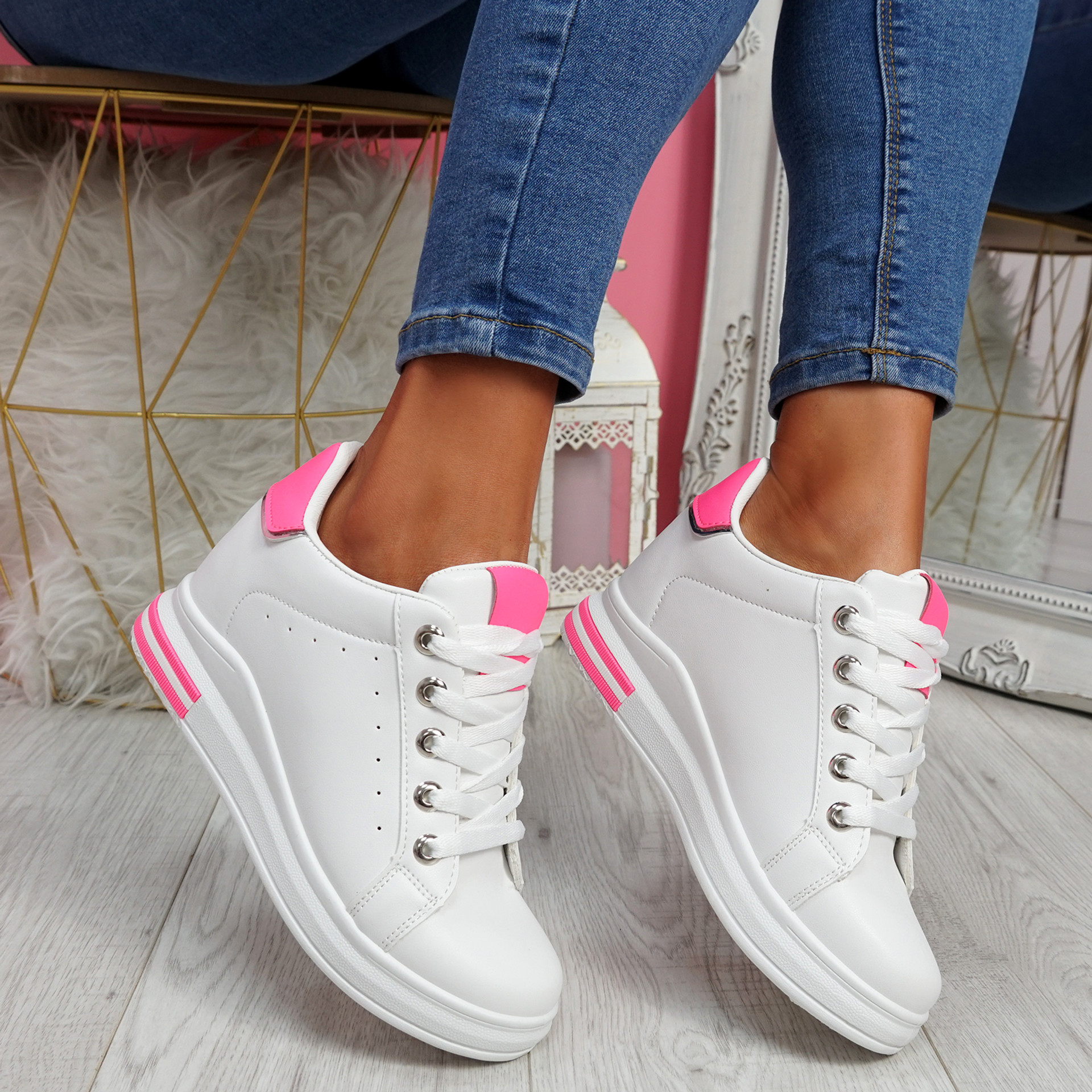 Liva Fluorescent Rose Red Wedge Trainers