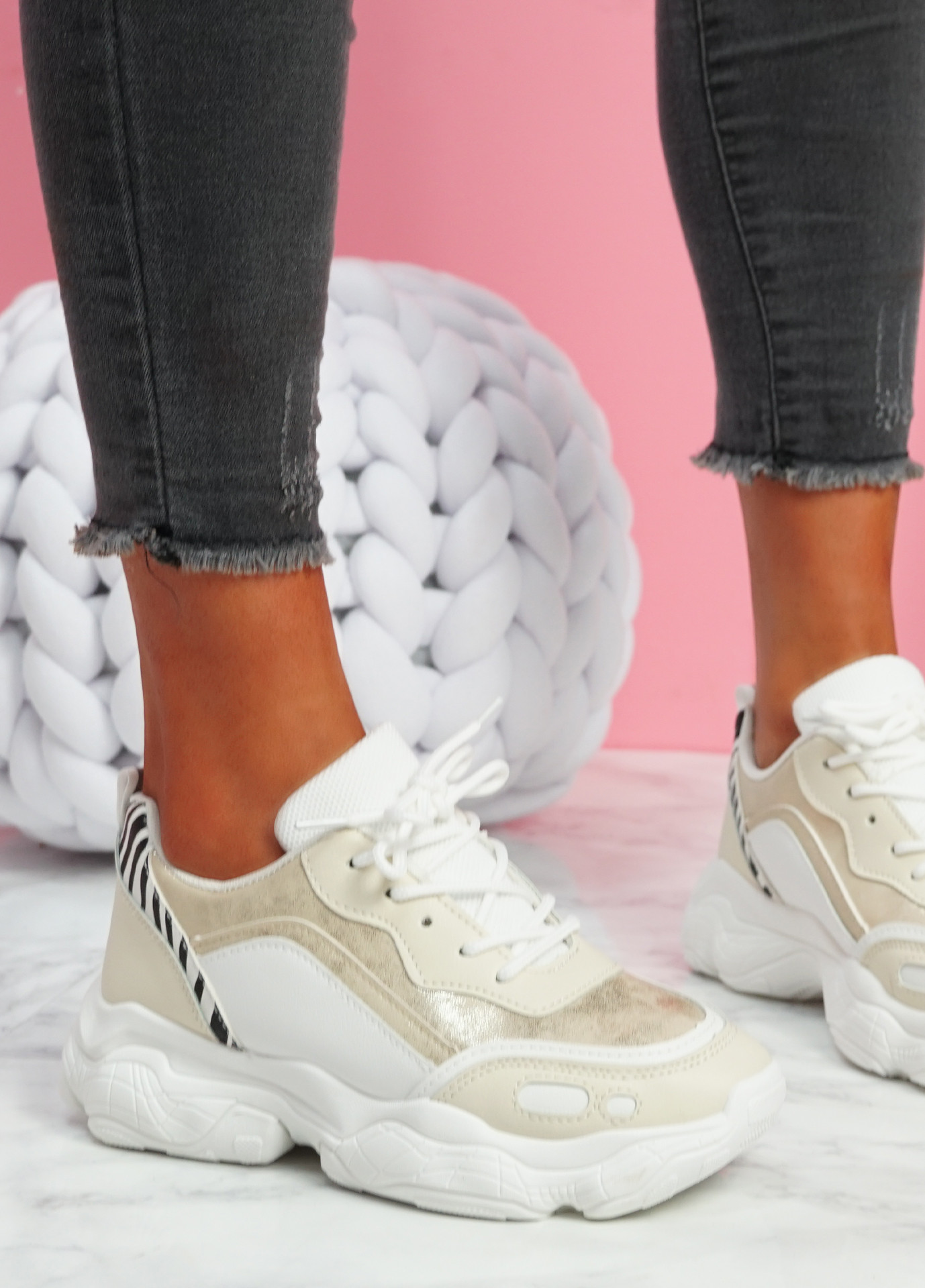 Unna Gold Chunky Trainers