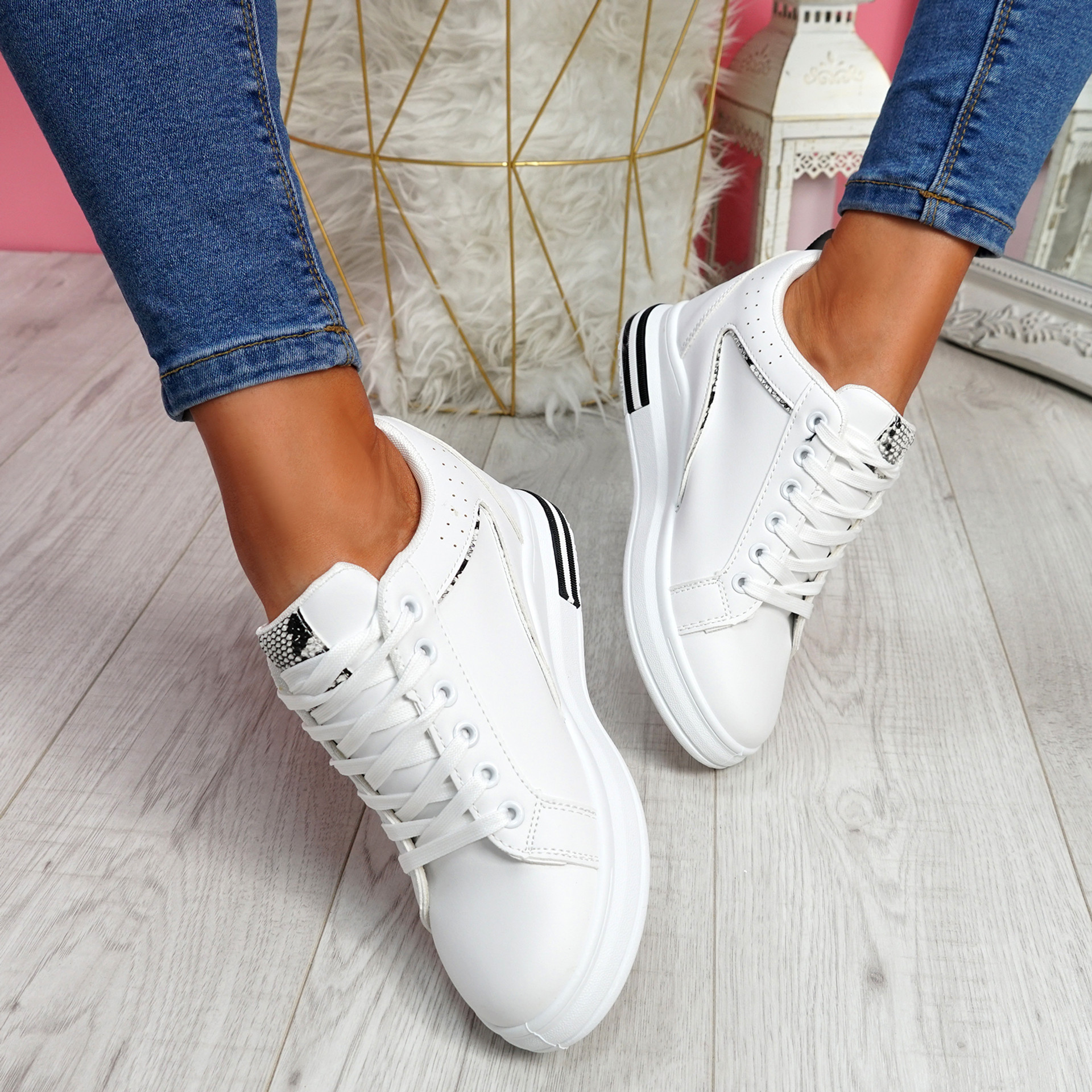 Sonna White Snake Skin Wedge Trainers