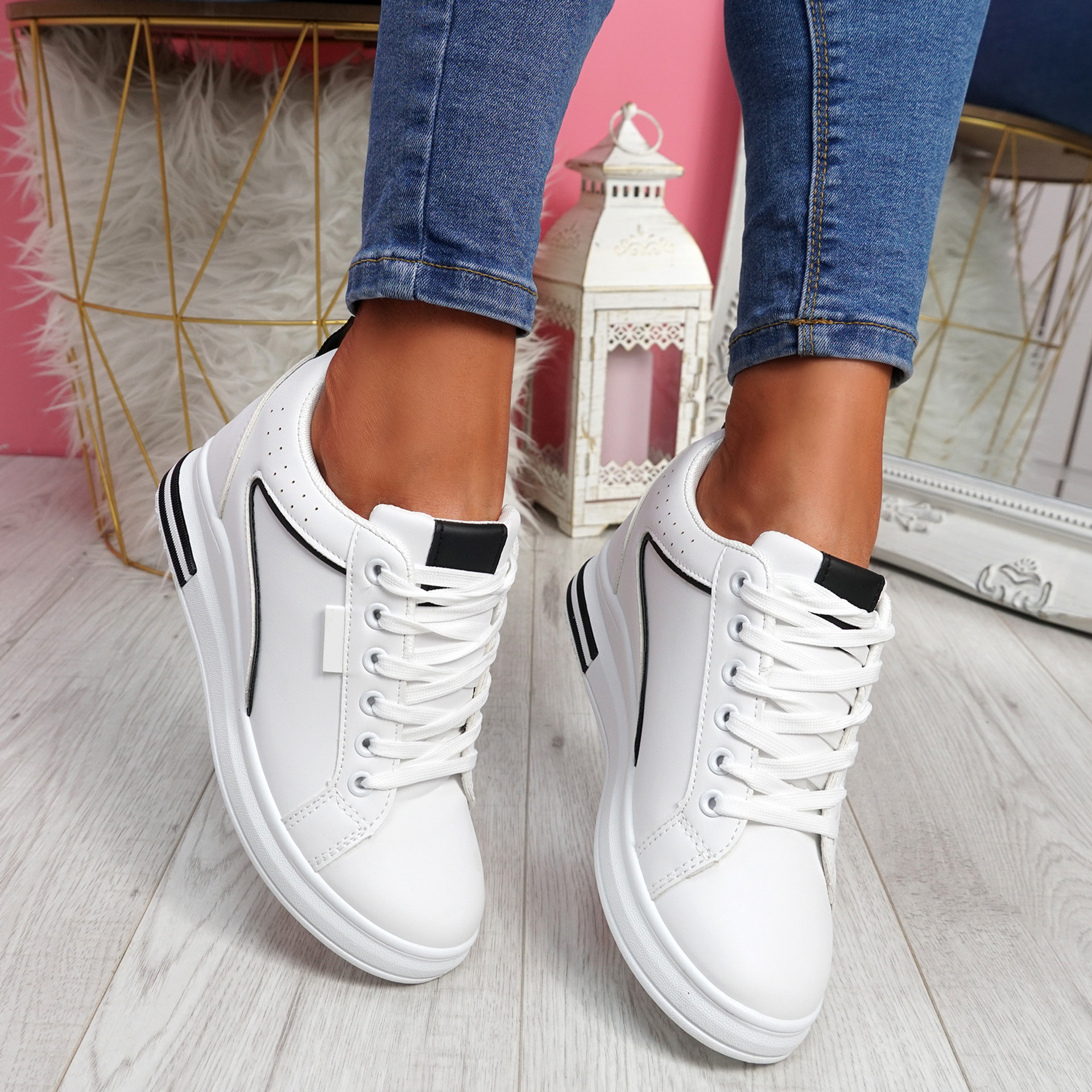 Sonna White Black Wedge Trainers