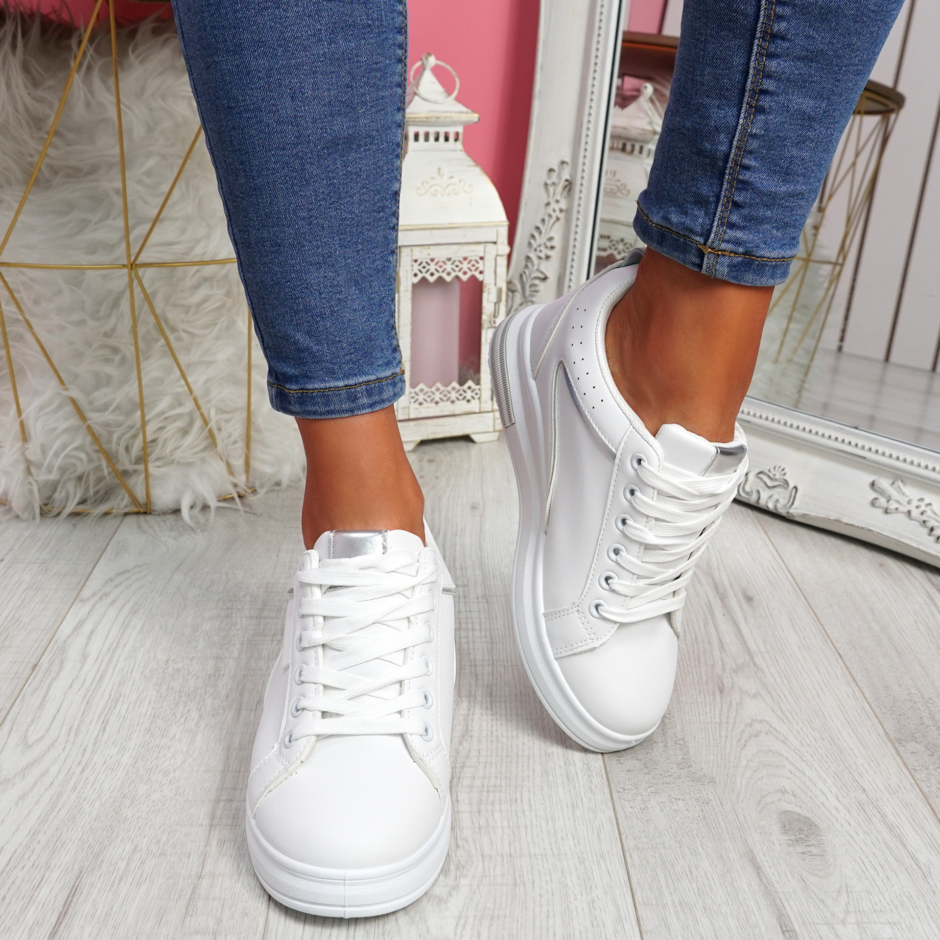 Sonna White Silver Wedge Trainers