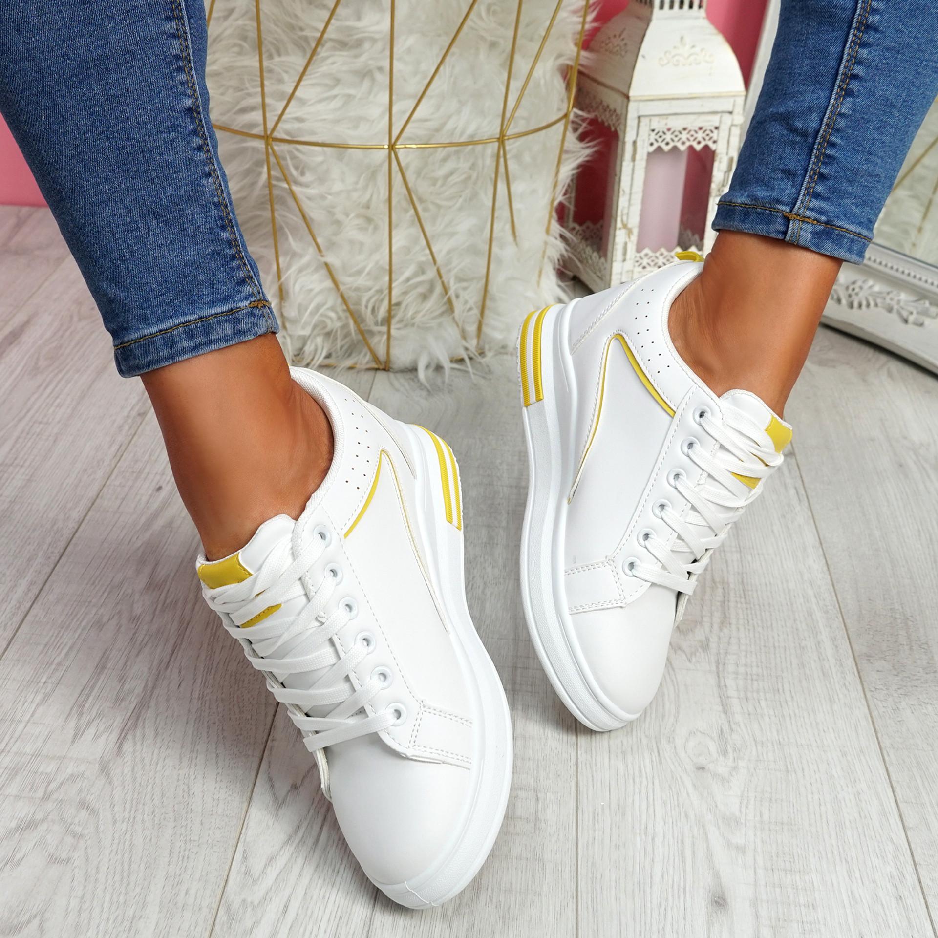 Sonna White Yellow Wedge Trainers