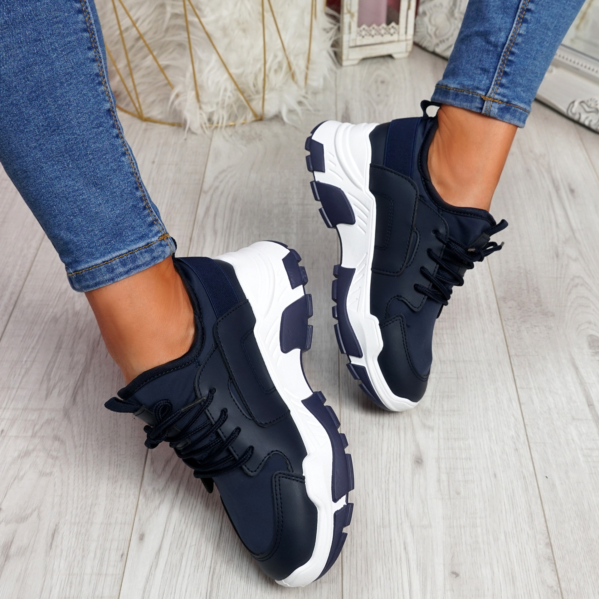 Limma Navy Chunky Trainers