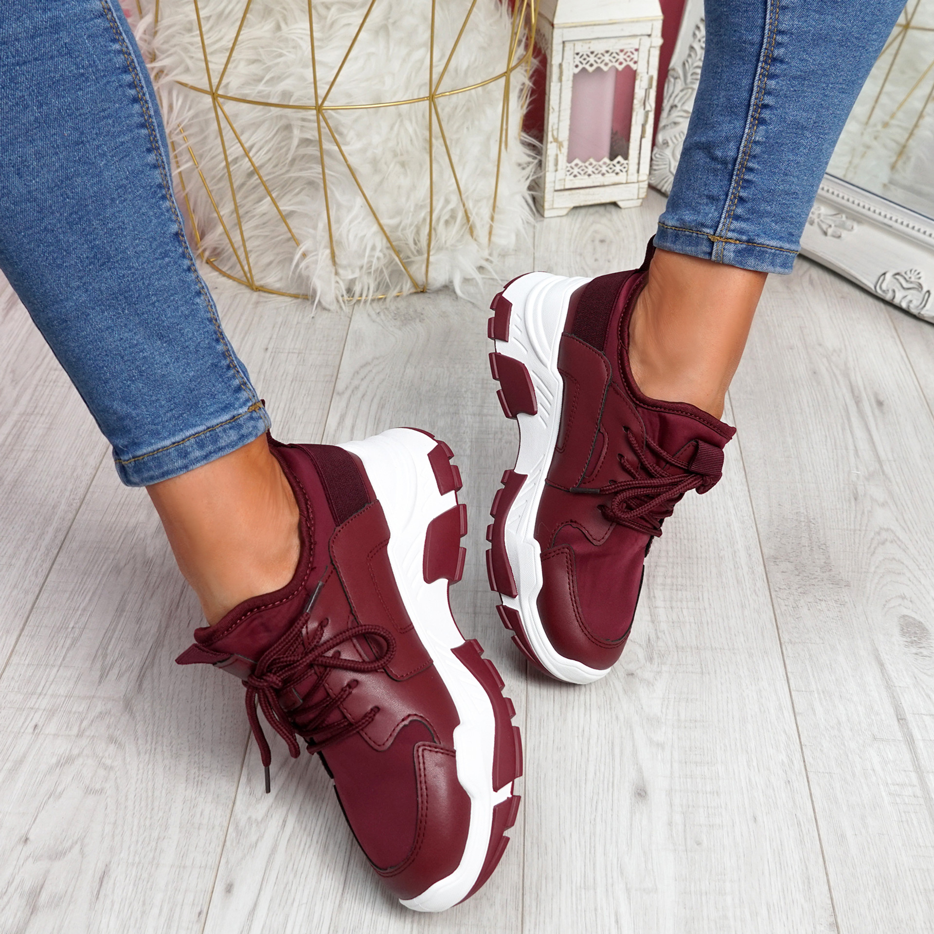Limma Wine Red Chunky Trainers